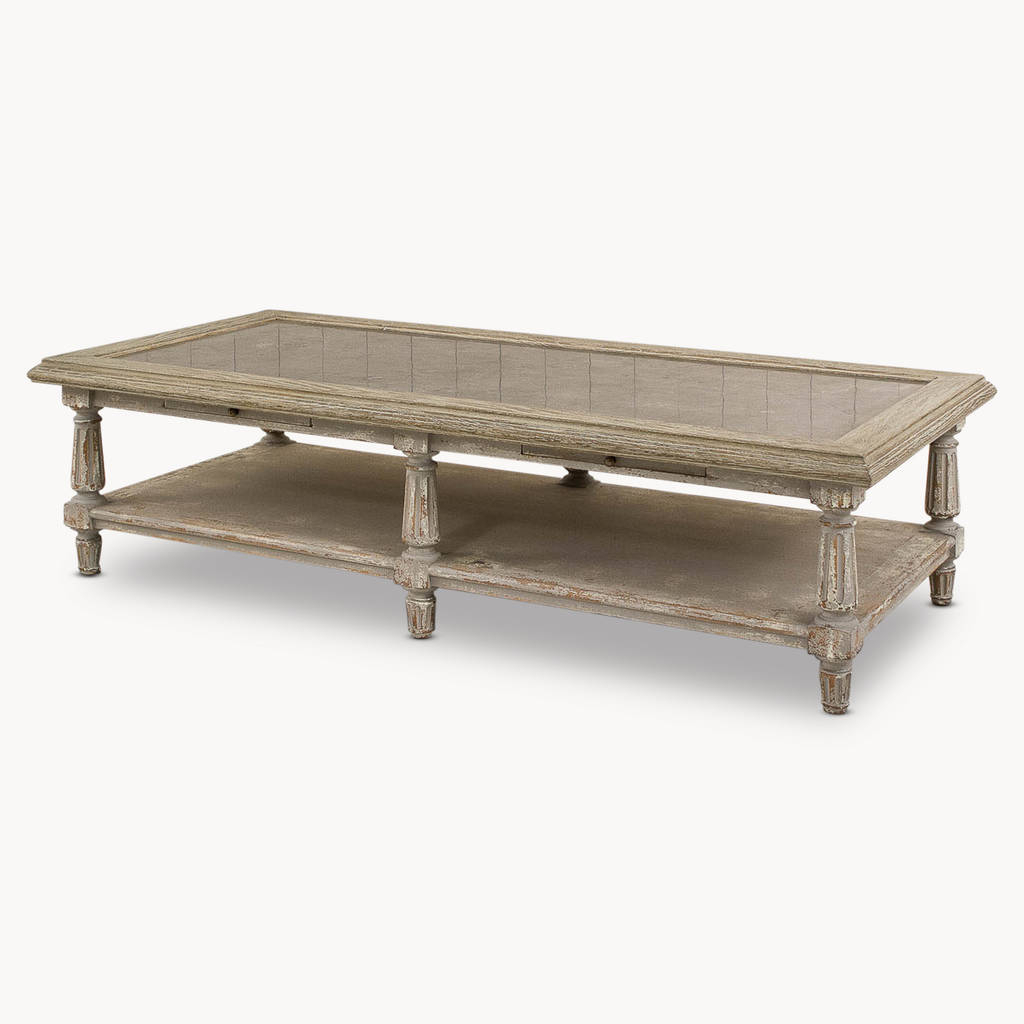 Stone Top Coffee Tables In Famous Woodcroft Colonial Grey Oak And Stone Top Coffee Tableone (View 5 of 20)