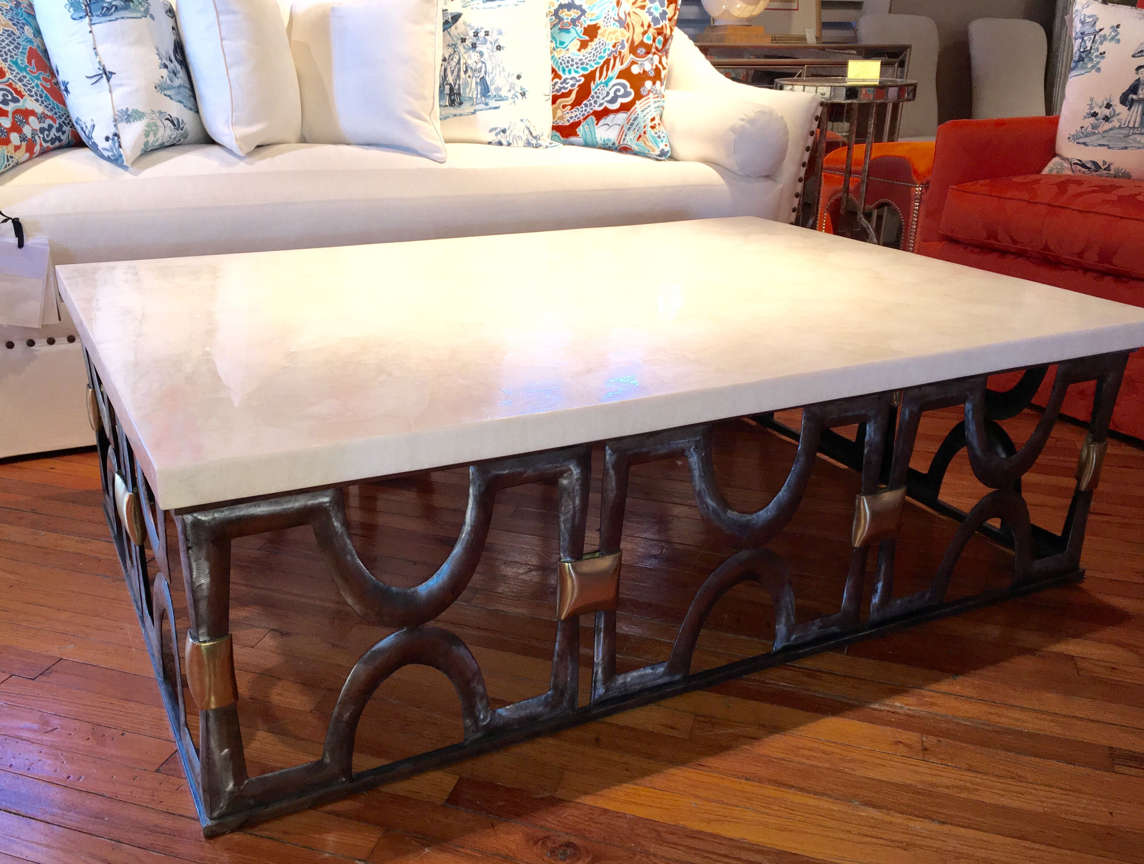 Stone Top Coffee Tables Inside Best And Newest White Onyx Stone Top Coffee Table – Mecox Gardens (View 9 of 20)