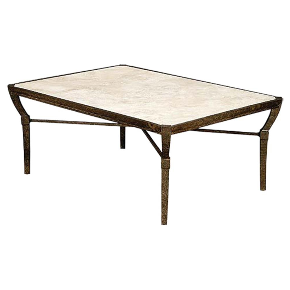 Stone Top Coffee Tables Within Widely Used Jane Modern French Stone Top Metal Outdoor Coffee Table (View 2 of 20)
