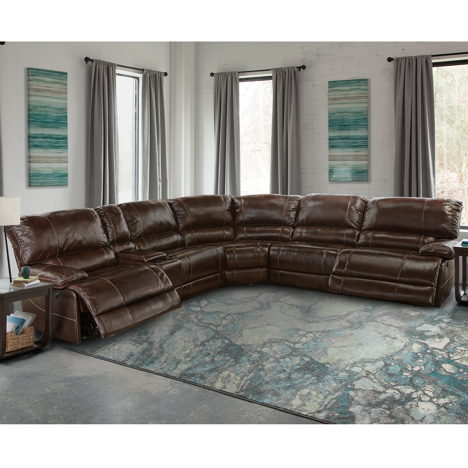 Summerbridge 6 Pc Leather Sectional Sofa – Sofa Design Ideas Throughout Best And Newest Travis Cognac Leather 6 Piece Power Reclining Sectionals With Power Headrest & Usb (View 10 of 20)