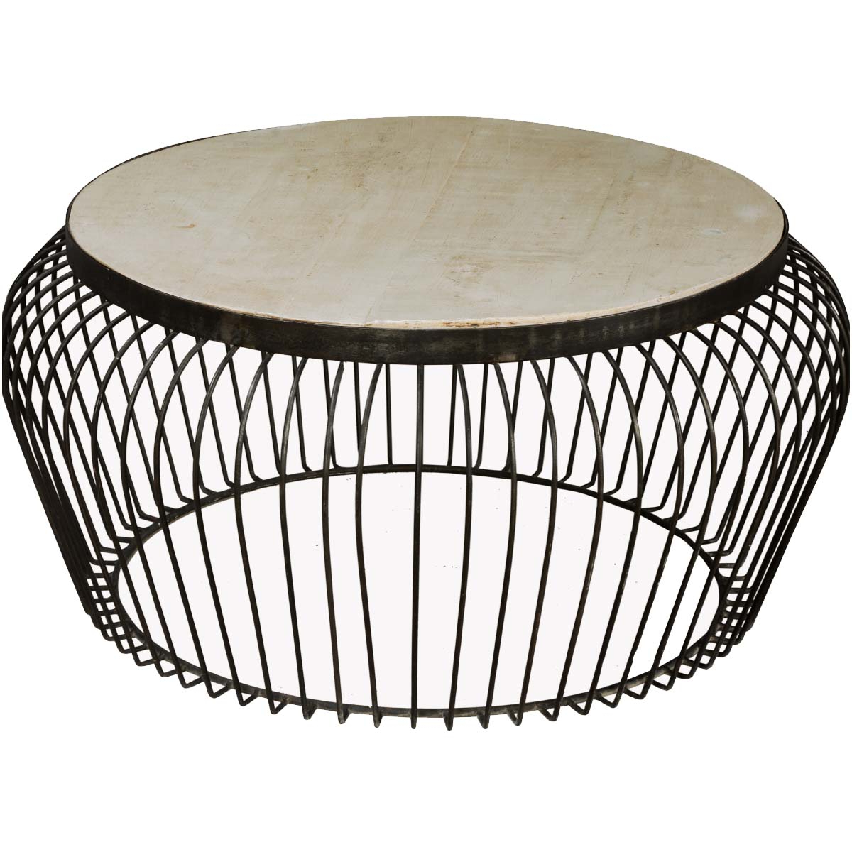 "Swell Round Coffee Tables Intended For Most Popular Wire Basket Mango Wood & Iron 38"" Round Coffee Table (View 11 of 20)"