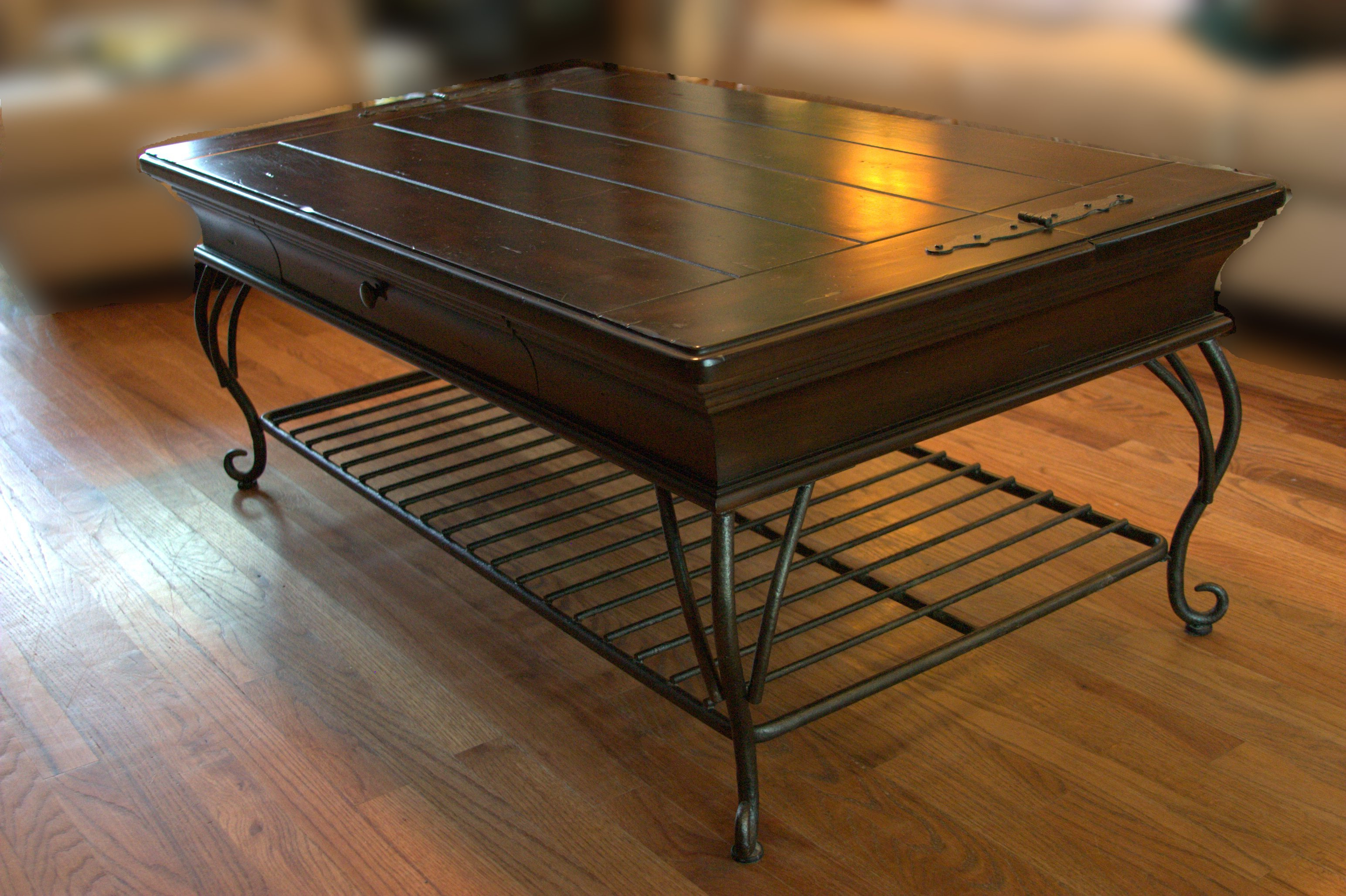 Table With Wheels : Probably Super Nice Forged Iron End Tables Ideas Intended For Current Reclaimed Elm Cast Iron Coffee Tables (View 20 of 20)