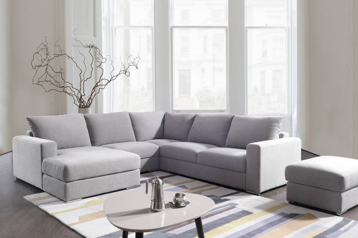 Tatum Dark Grey 2 Piece Sectionals With Laf Chaise For Well Known Divani Casa Valley Modern Grey Fabric Sectional Sofa & Ottoman (View 8 of 20)