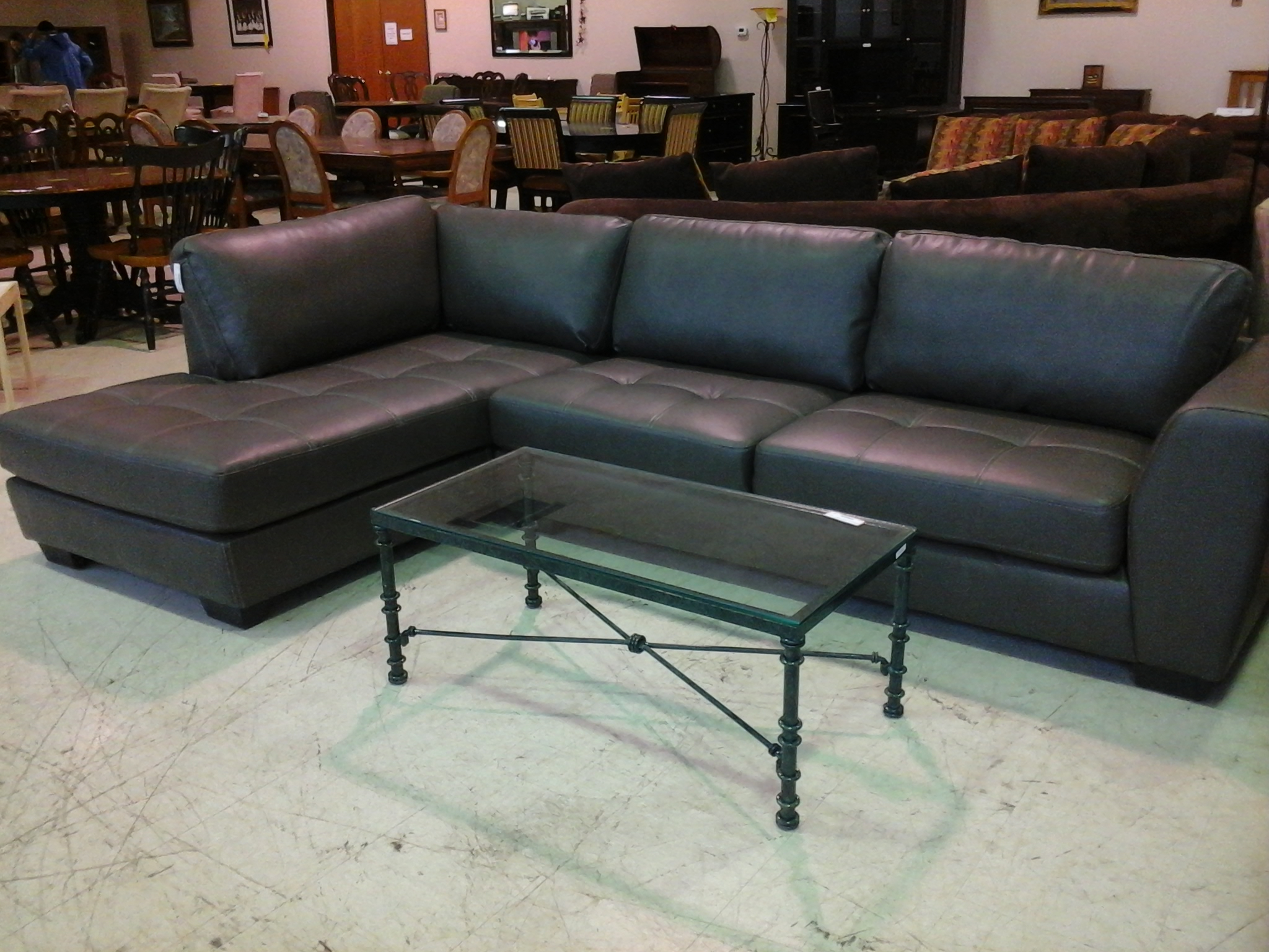 Tatum Dark Grey 2 Piece Sectionals With Laf Chaise Intended For Latest Brand New Dark Gray Leather Couch #px (View 13 of 20)