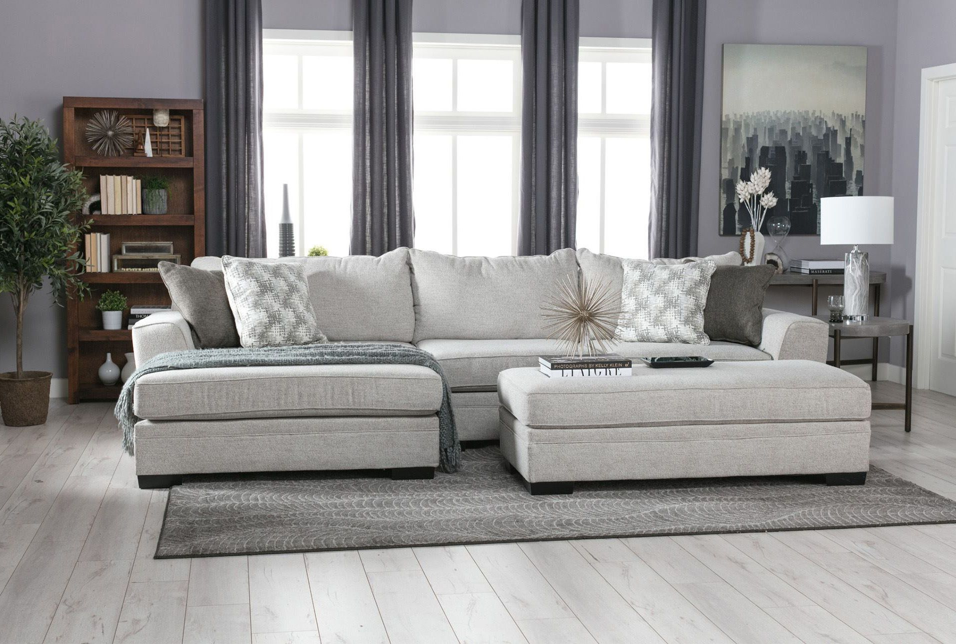Tatum Dark Grey 2 Piece Sectionals With Raf Chaise In Widely Used Aquarius Light Grey 2 Piece Sectional Wlaf Chaise Minimalist (View 18 of 20)