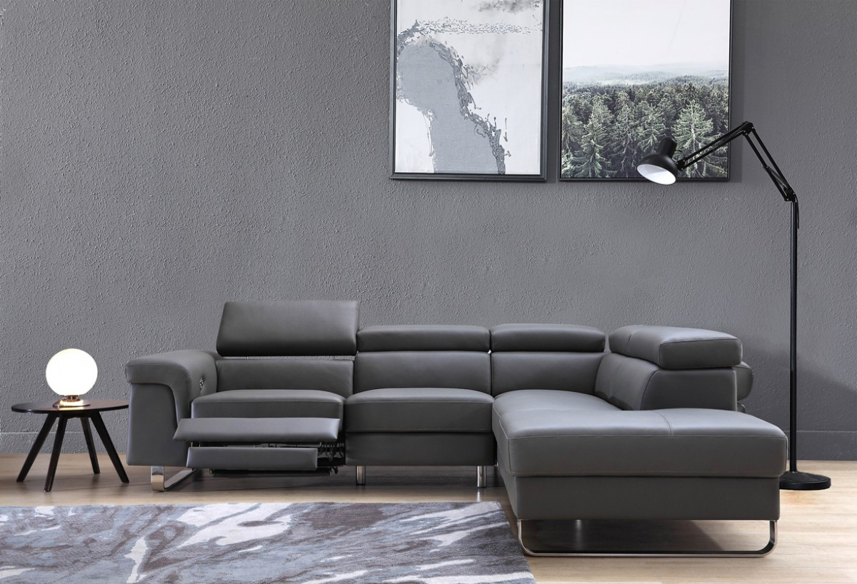 Tatum Dark Grey 2 Piece Sectionals With Raf Chaise Within Favorite Divani Casa Chaz Modern Grey Leather Sectional Sofa W/ Recliner (View 18 of 20)