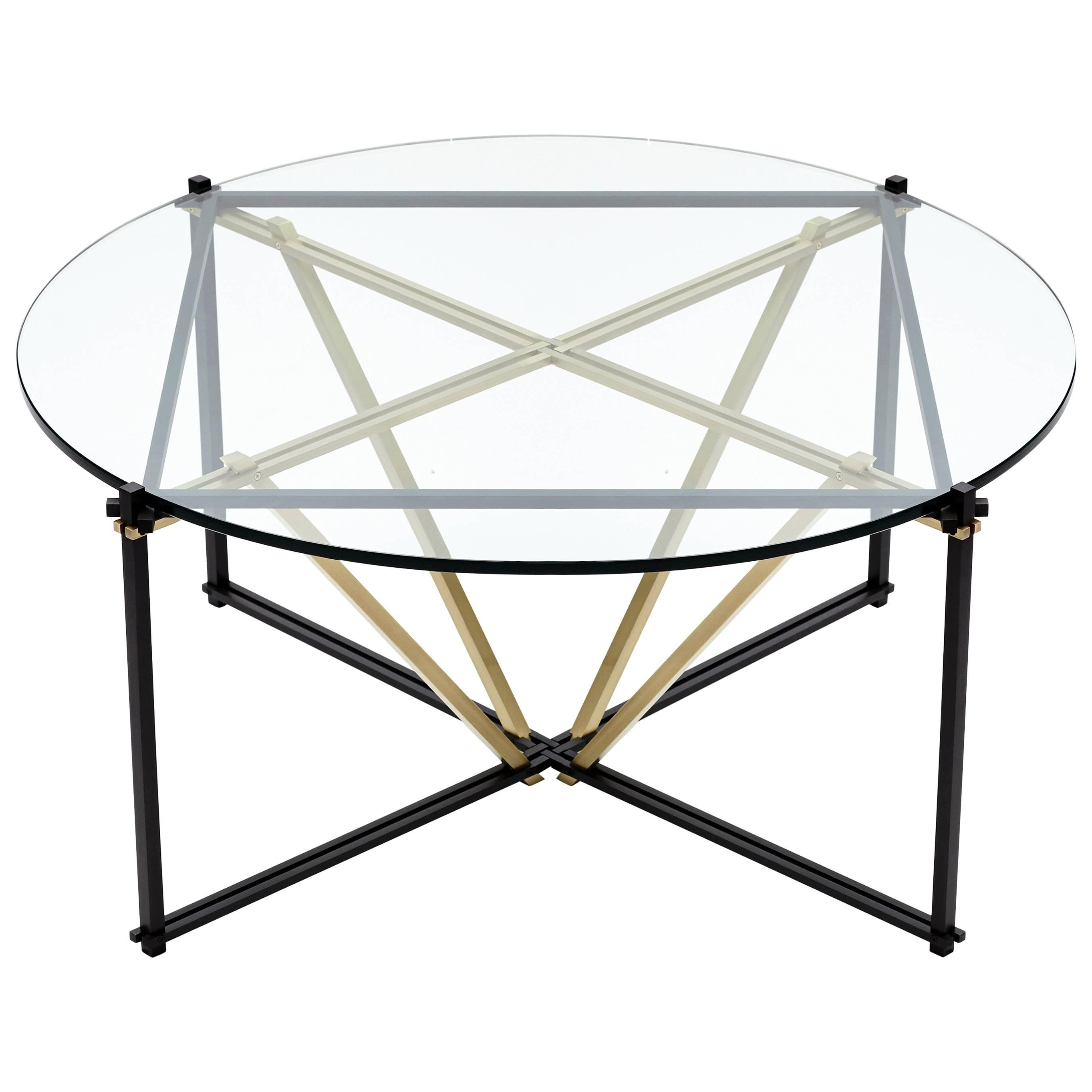 Tensegrity Coffee Table, Black And Satin Brass With Clear Glass For Throughout Widely Used Intertwine Triangle Marble Coffee Tables (View 17 of 20)