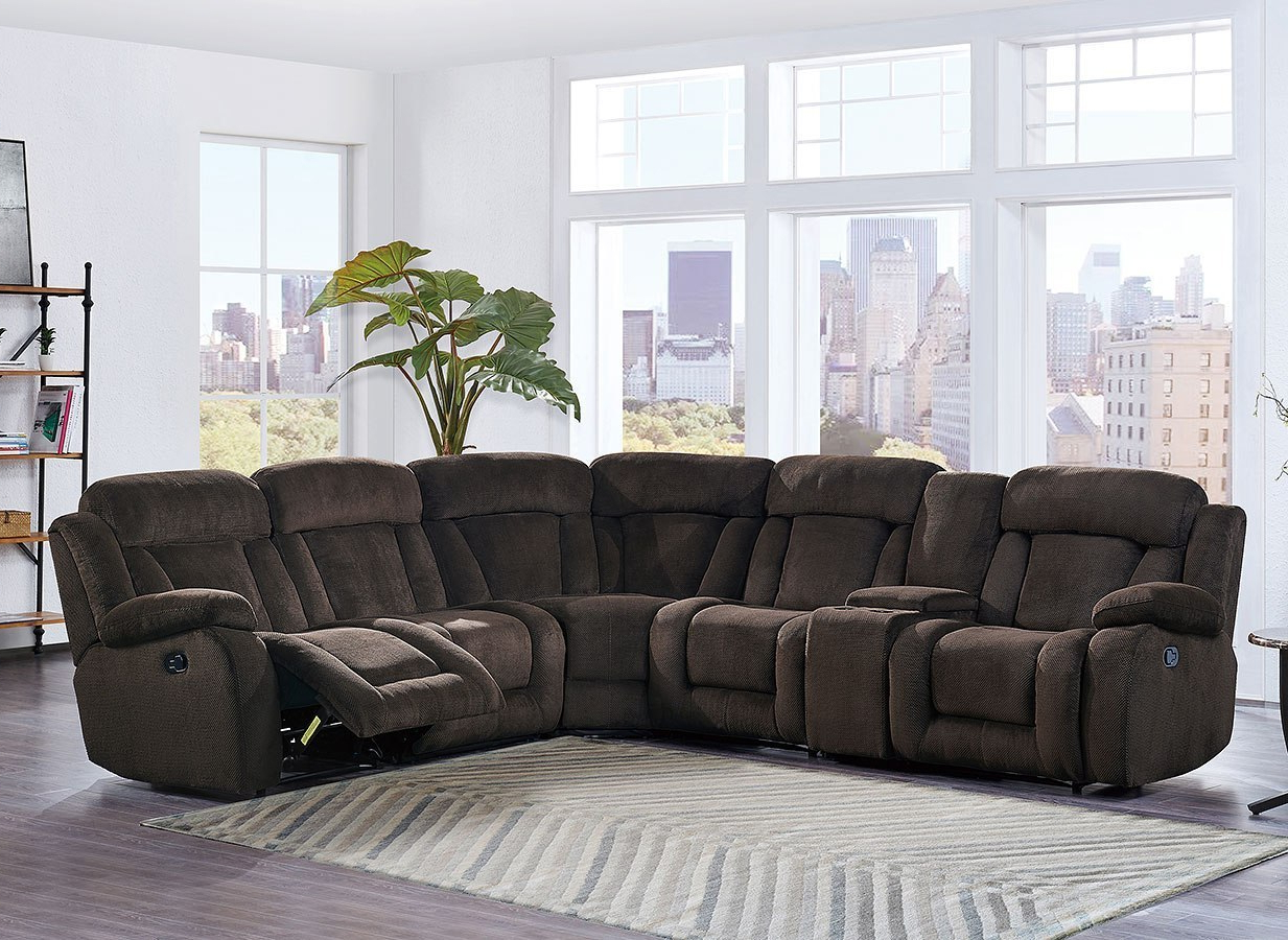 Tess 2 Piece Power Reclining Sectionals With Laf Chaise Inside Latest U9867 Modular Reclining Sectional (brown) – Living Room Furniture (View 14 of 20)