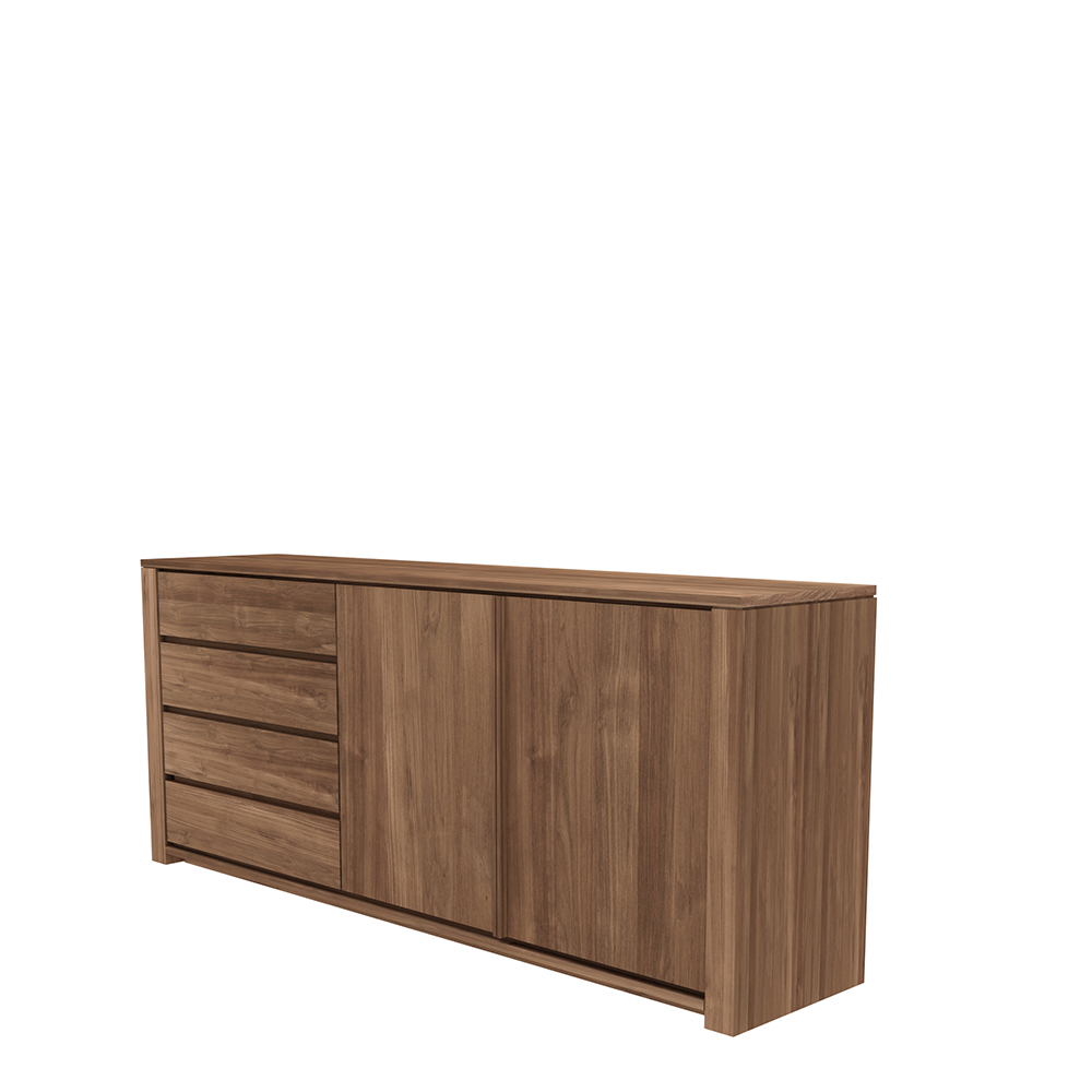 Tge 015336 Teak Lodge Sideboard 2 Doors 3 Drawers 202X46X84 P For Preferred 3 Drawer/2 Door Sideboards (View 17 of 20)