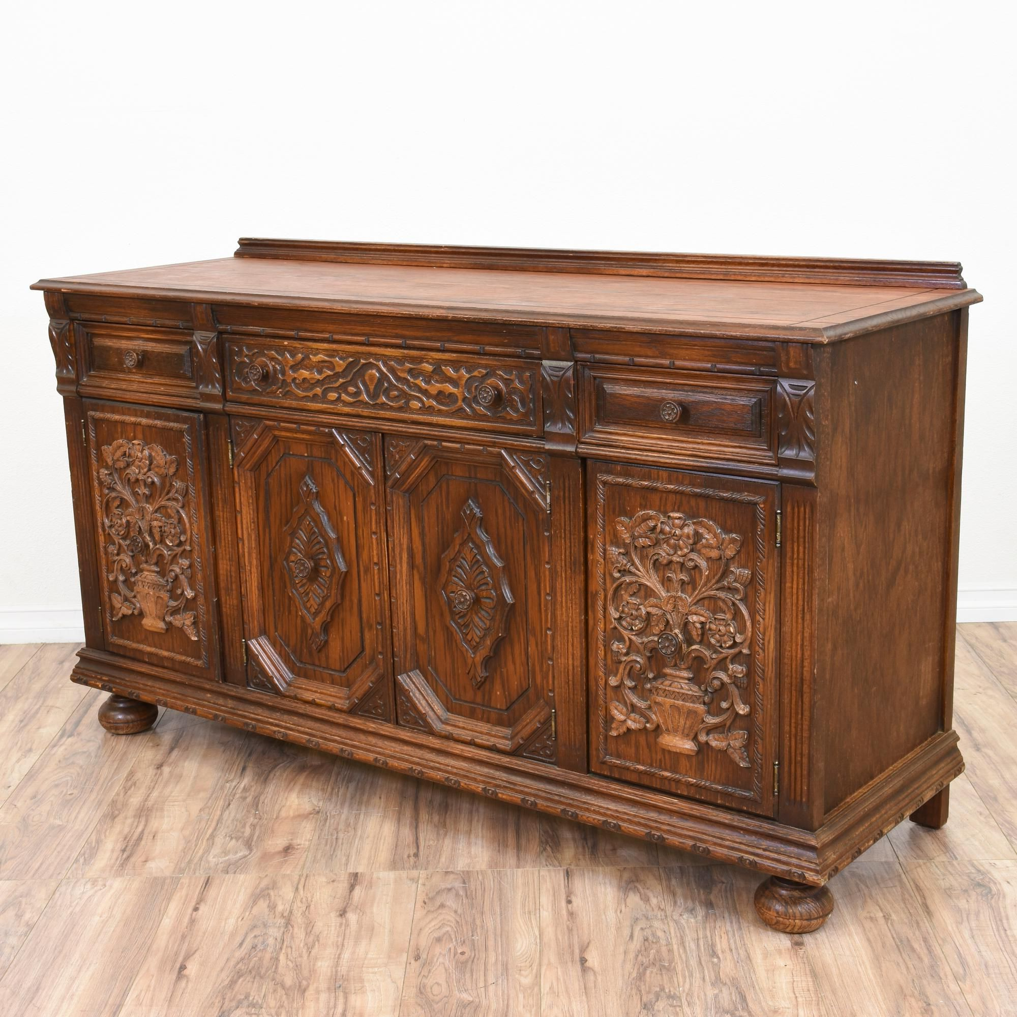 This Antique English Buffet Is Featured In A Solid Wood With A Throughout Widely Used Vintage Finish 4 Door Sideboards (View 15 of 20)