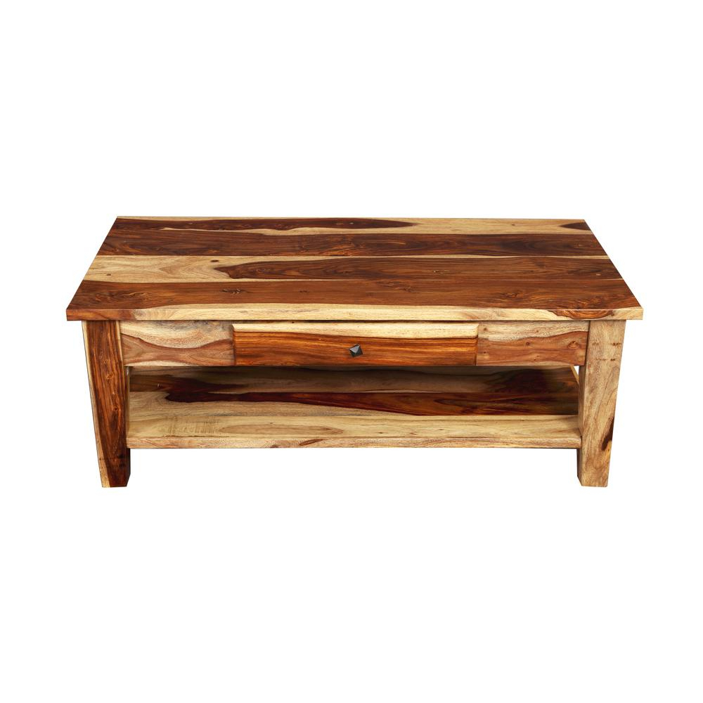 Traditional Coffee Tables Pertaining To Most Recent Taos Traditional Natural Solid Sheesham Wood Coffee Table With (Gallery 13 of 20)