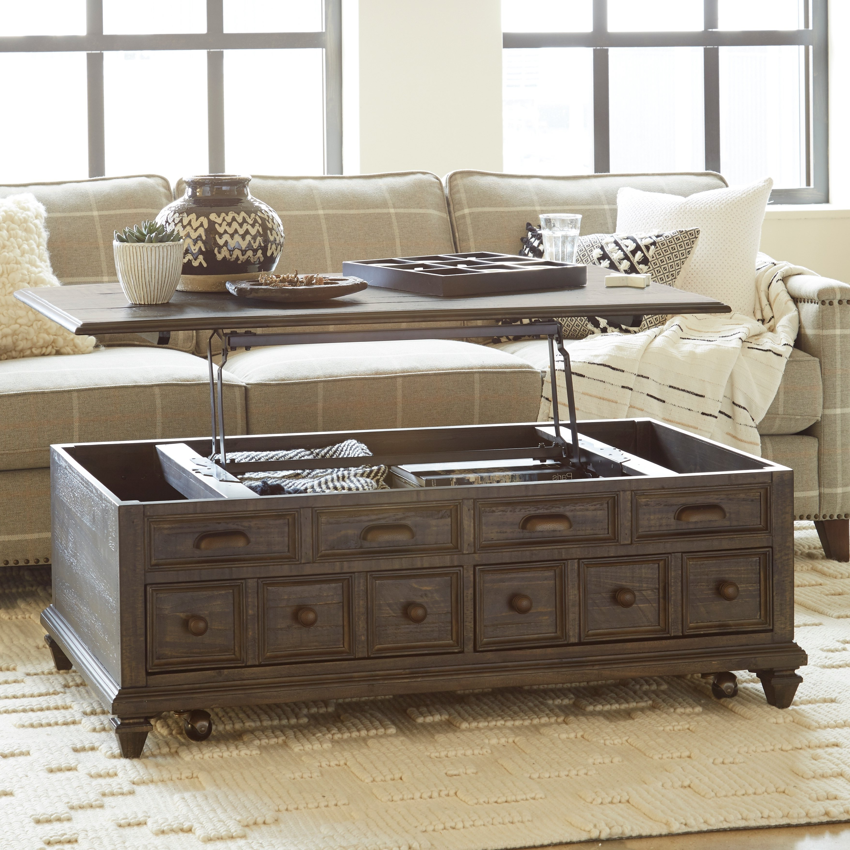 Traditional Coffee Tables Regarding Most Current Shop Burkhardt Traditional Rustic Lift Top Storage Coffee Table – On (View 7 of 20)