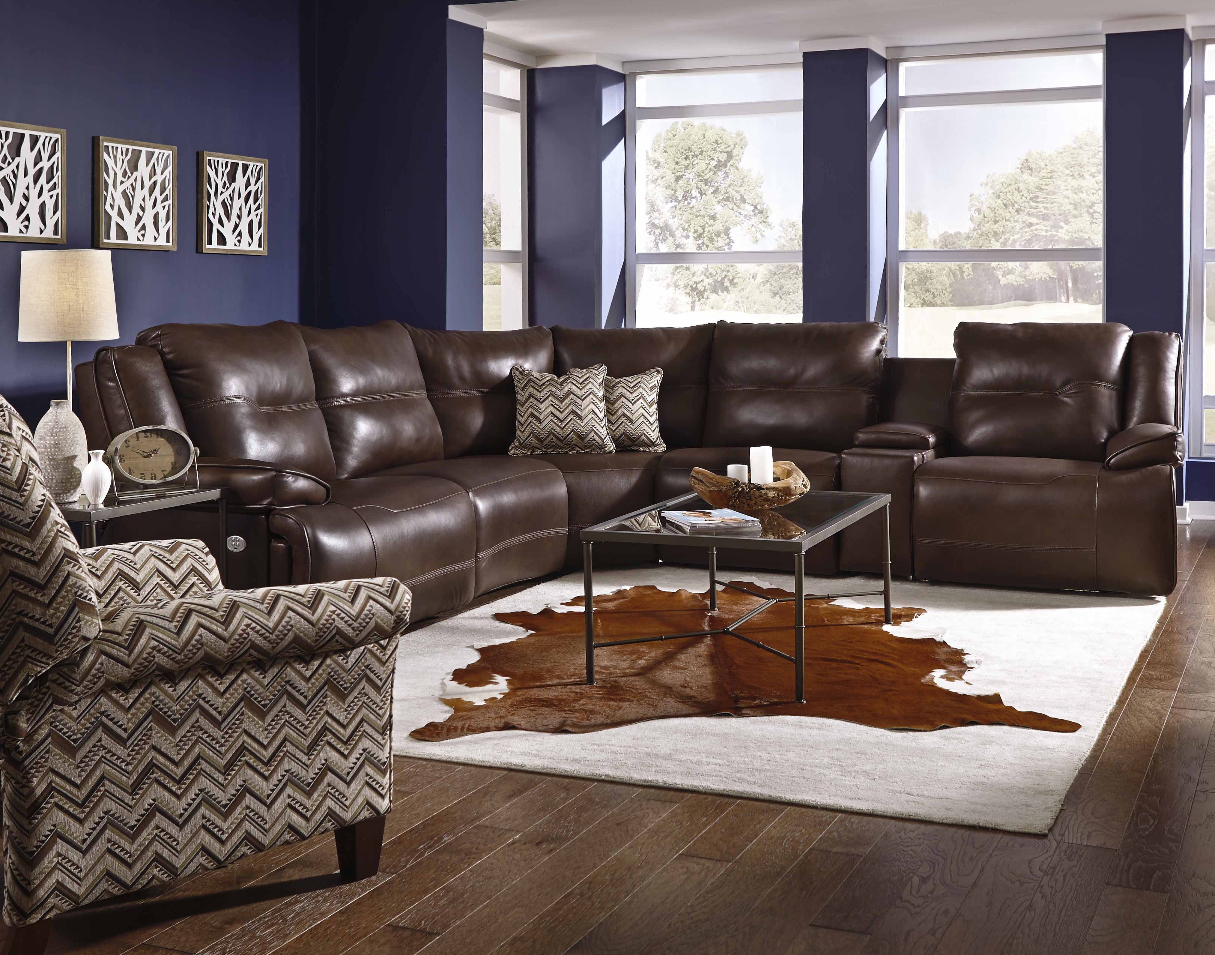 Travis Cognac Leather 6 Piece Power Reclining Sectionals With Power Headrest & Usb For Newest Southern Motion Furniture Products (View 12 of 20)