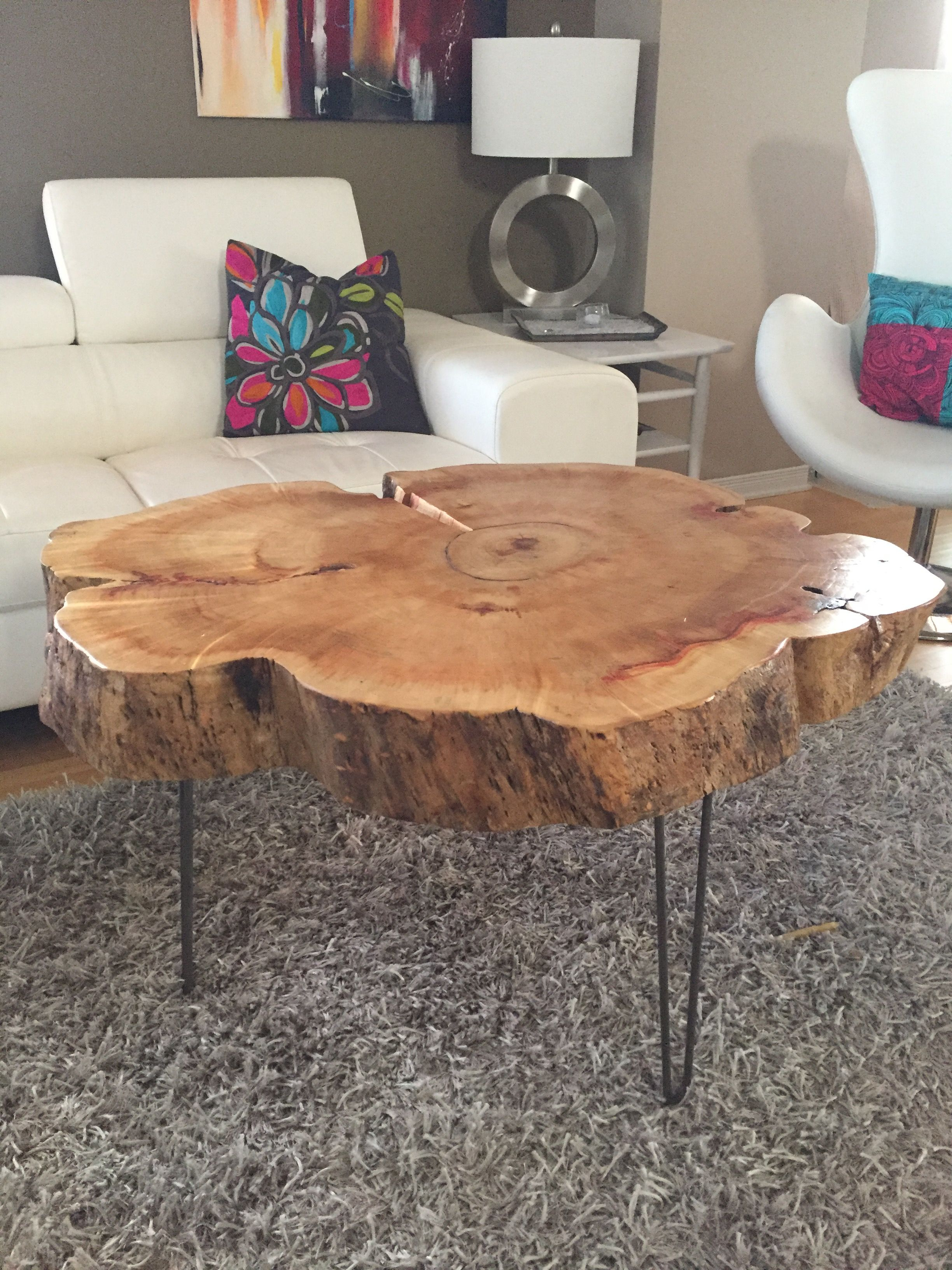 Tree Trunk Table With Metal Legs, Wood Coffee Table With Hairpin With Recent Mill Large Coffee Tables (View 18 of 20)