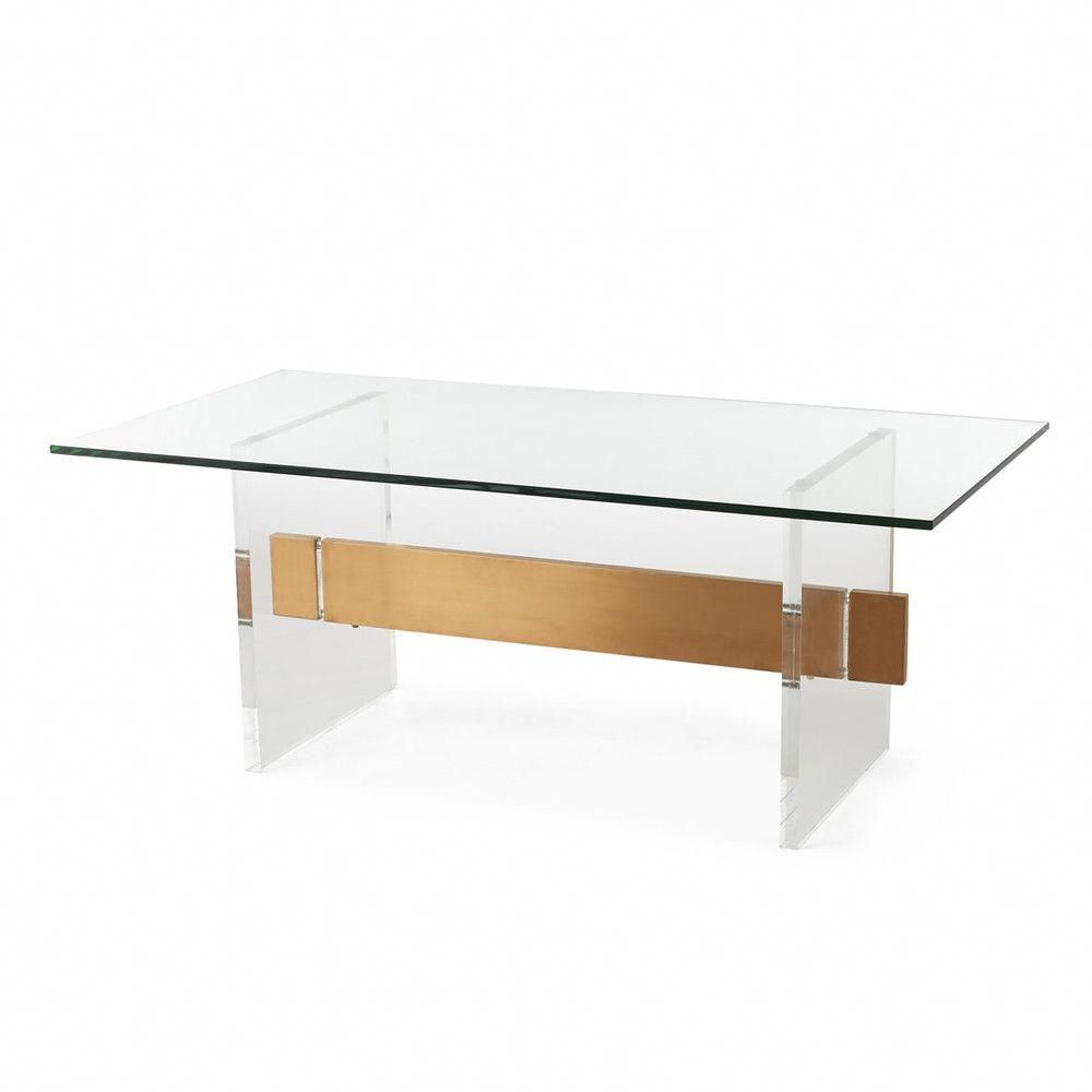 Trendy Acrylic & Brushed Brass Coffee Tables Pertaining To Acrylic & Brushed Brass Coffee Table (View 18 of 20)