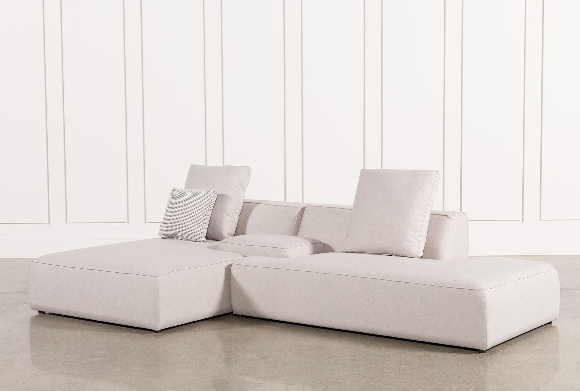 Trendy Aquarius Light Grey 2 Piece Sectionals With Laf Chaise For Maggie Light Grey 3 Piece Sectional W/raf Chaise & Solid Stool (Gallery 14 of 20)
