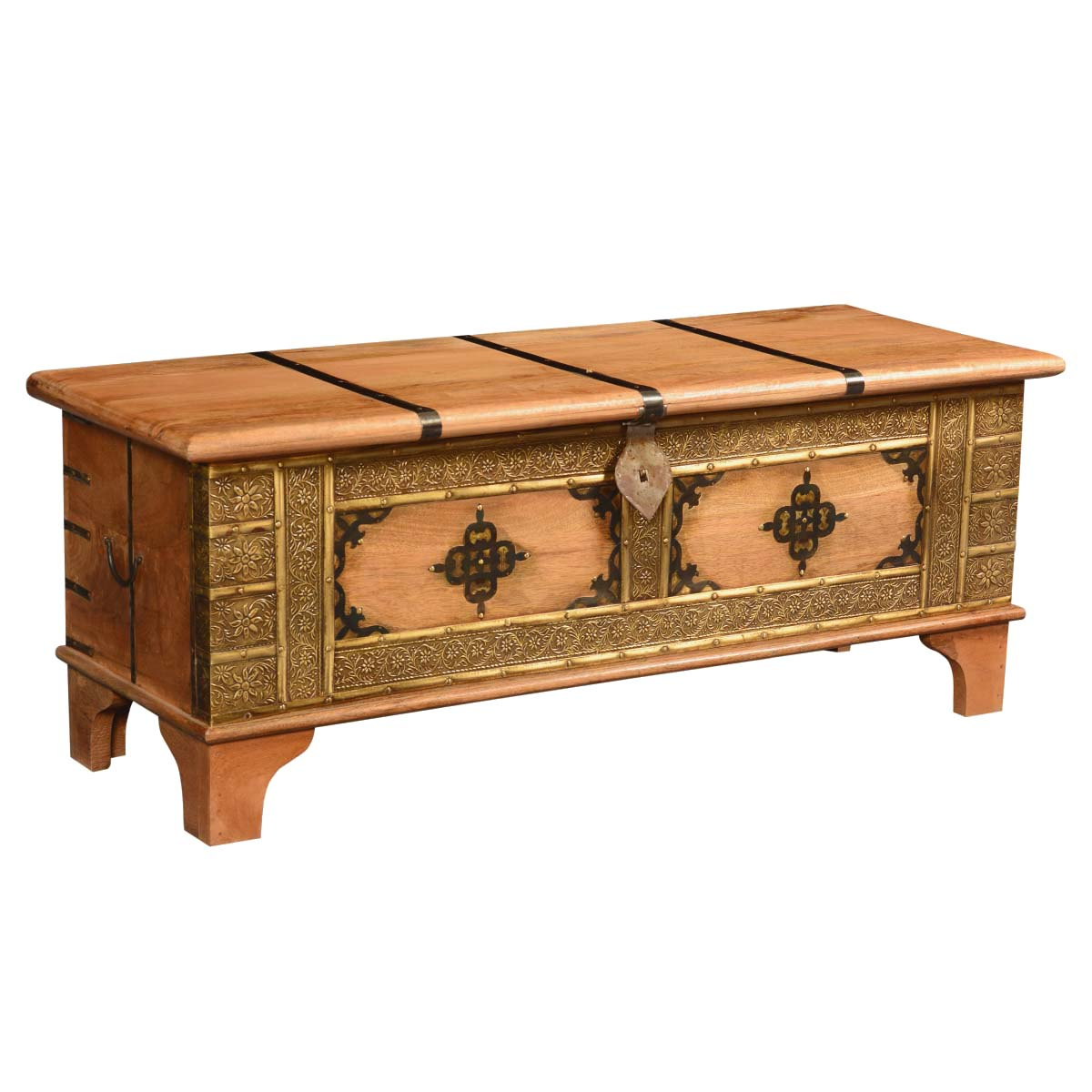 Trendy Asian Splendor Mango Wood Brass Inlay Coffee Table Inside Joni Brass And Wood Coffee Tables (View 17 of 20)