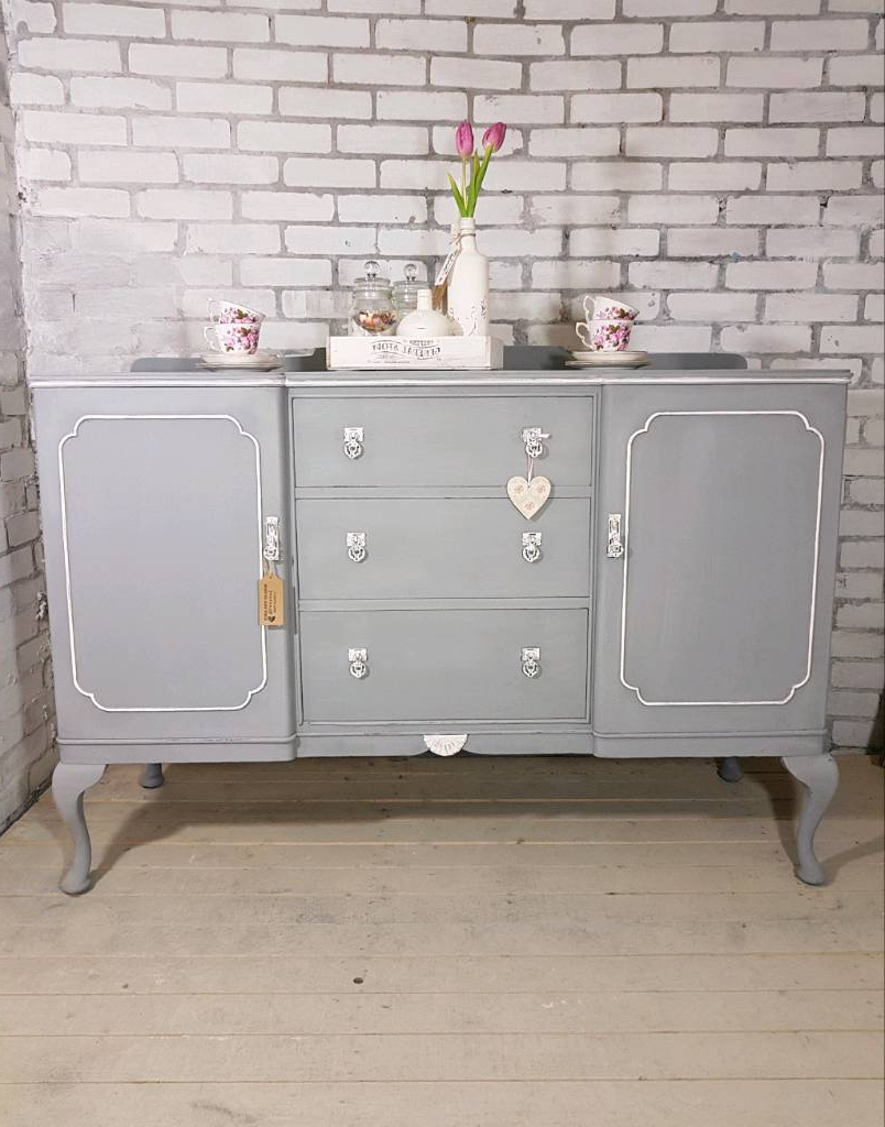 Trendy Beautiful Big Buffet Sideboard, Vintage 2 Door, 3 Drawer Dresser Inside Antique White Distressed 3 Drawer/2 Door Sideboards (View 6 of 20)