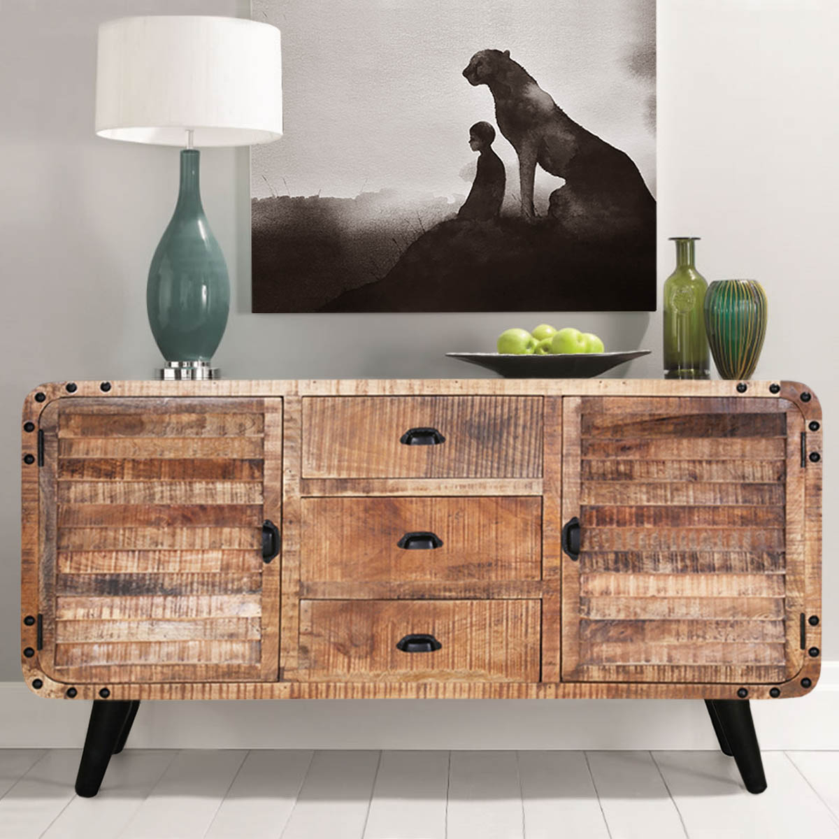 Trendy Castine Retro Rustic Mango Wood 3 Drawer Industrial Sideboard With Reclaimed 3 Drawer Icebox Sideboards (View 15 of 20)