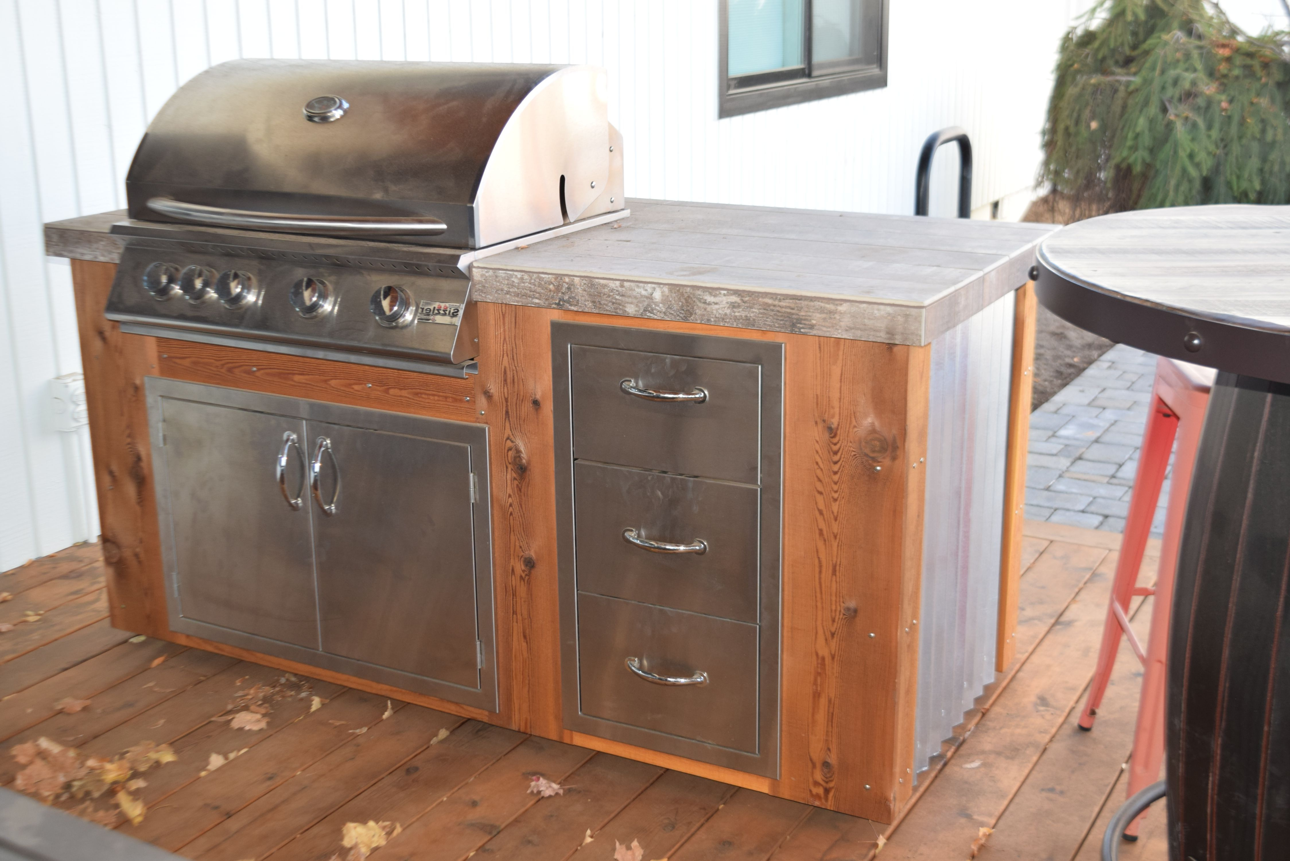 Trendy Corrugated Metal Sideboards With Outdoor Kitchen Corrugated Metal & Wood Stainless Steel Grill (View 16 of 20)