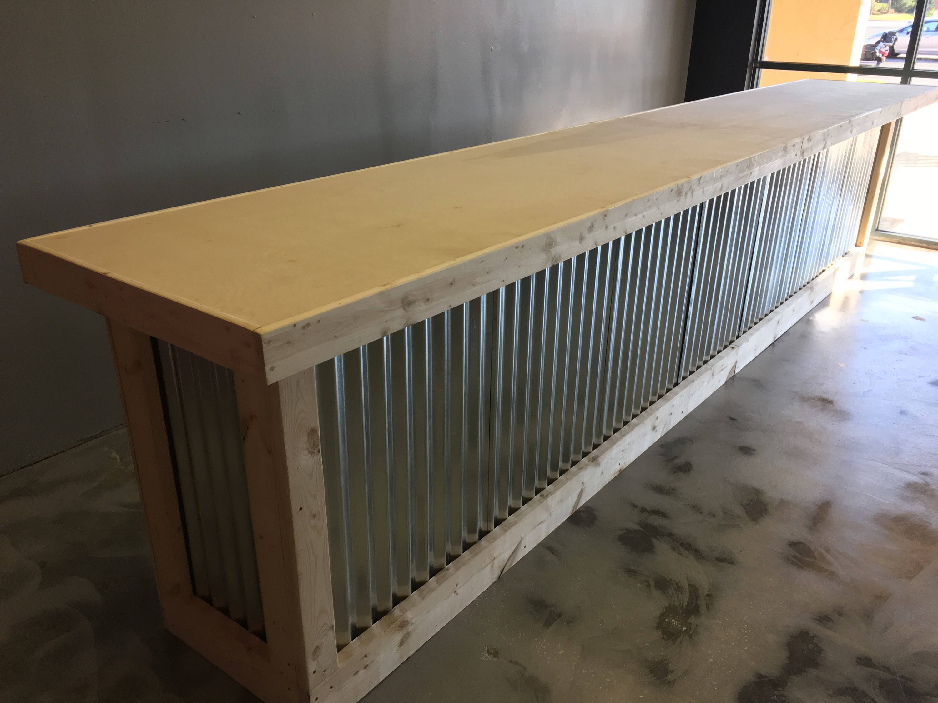 Trendy Corrugated Metal Sideboards With The Vapor – 16' Corrugated Metal Rustic Or Industrial Sales Counter (View 11 of 20)