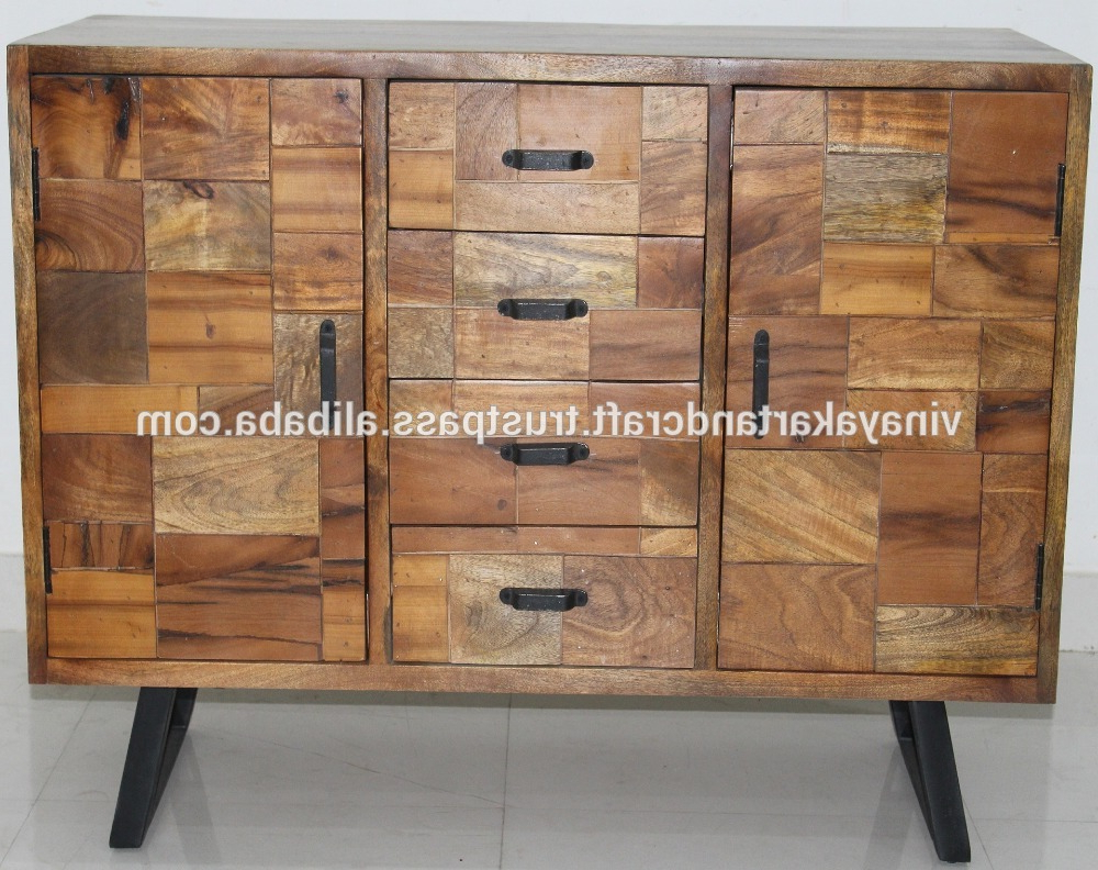 Trendy Corrugated Natural 4 Drawer Sideboards With Regard To Modern Furniture Sideboard Design With Matt Black Metal Base (View 7 of 20)