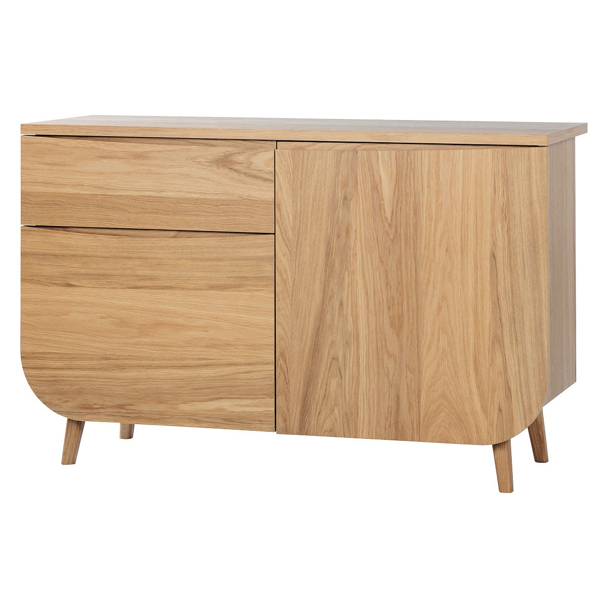 Trendy Etta Oak Curved Sideboard With 2 Doors And 1 Drawer (View 11 of 20)