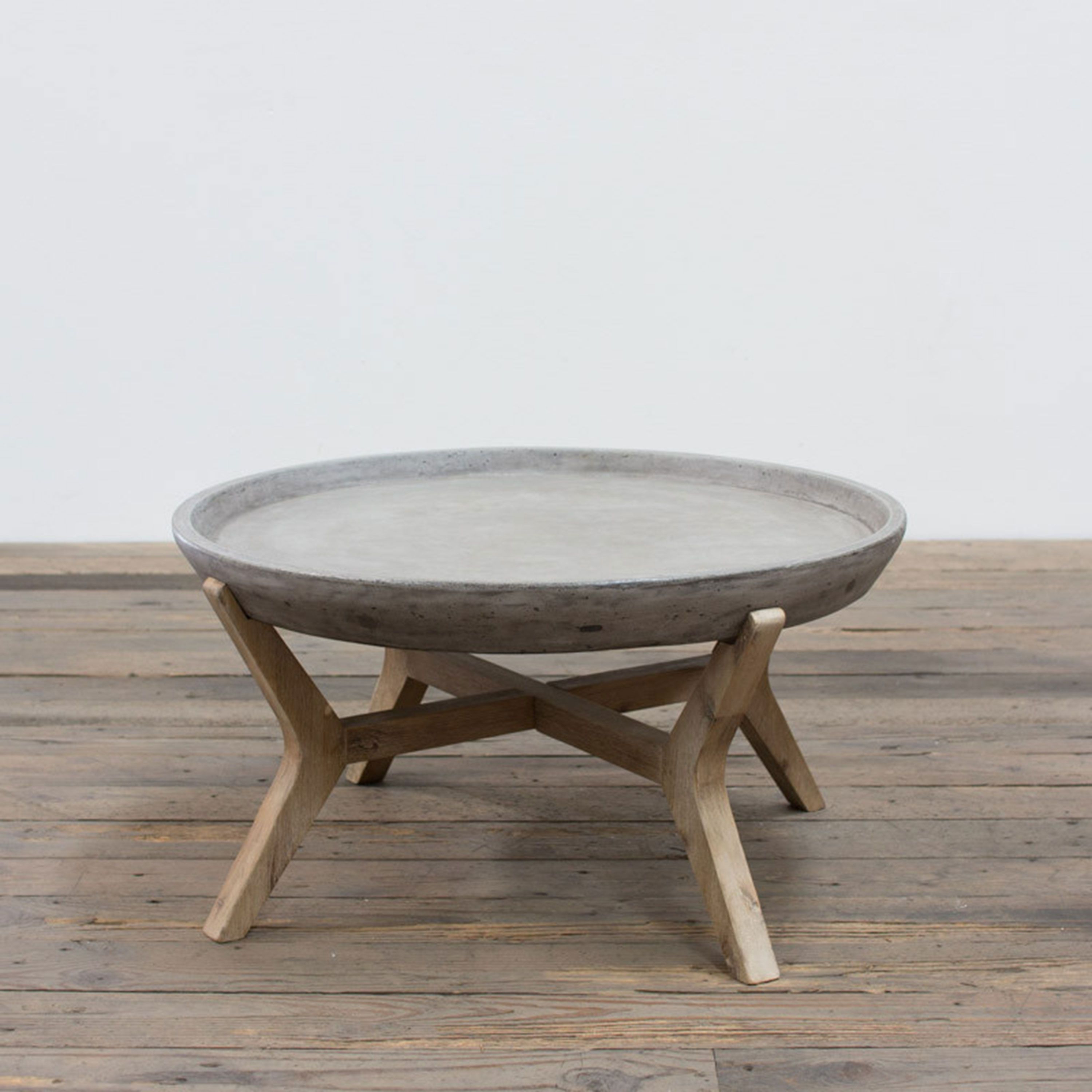 Trendy Forma Cocktail Tables With Regard To Angelo:home Concrete And Wood Round Coffee Table … (View 18 of 20)