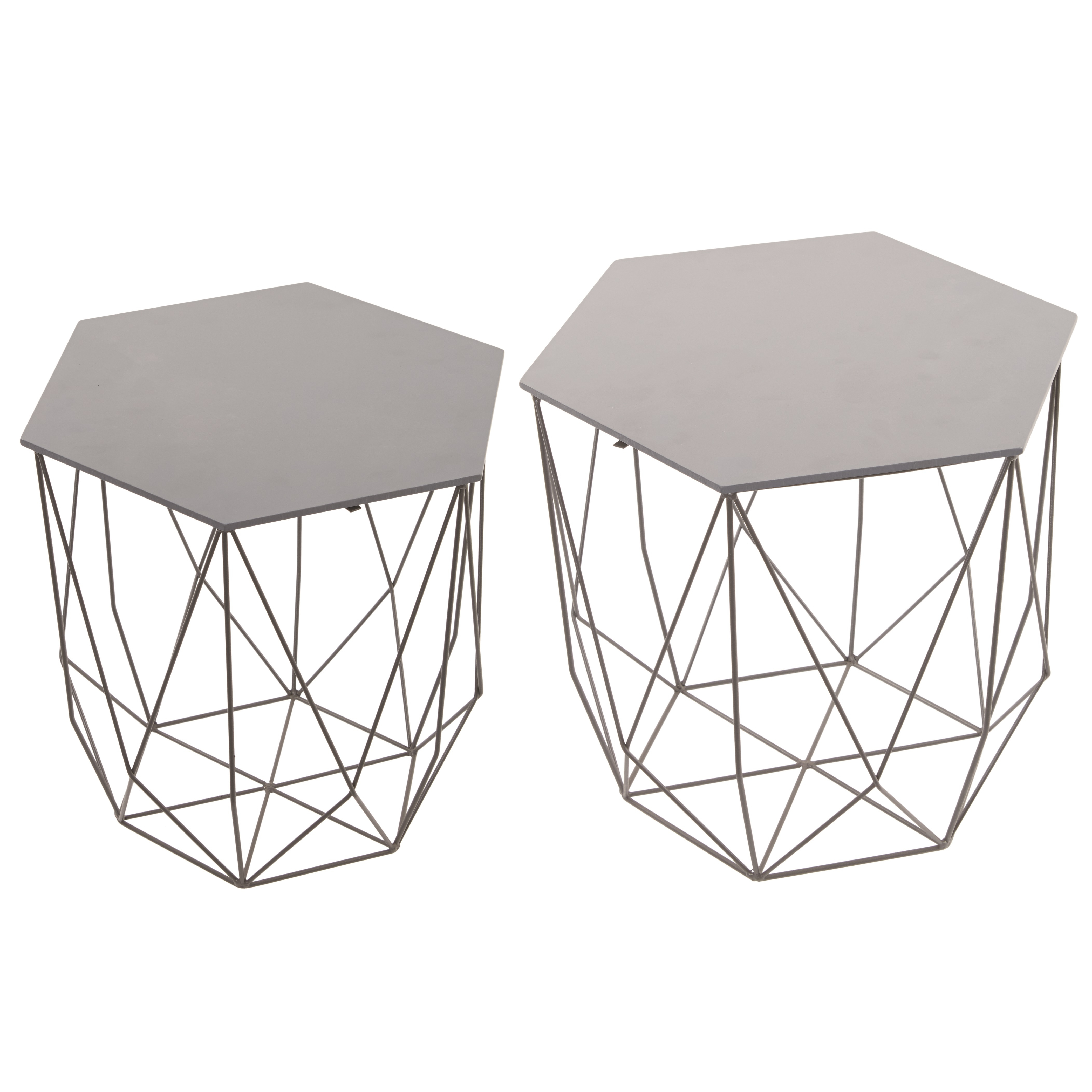 Trendy Hexagon Grey Six Sided Wire & Wood Side Table Set Of 2 With Regard To Black Wire Coffee Tables (View 4 of 20)