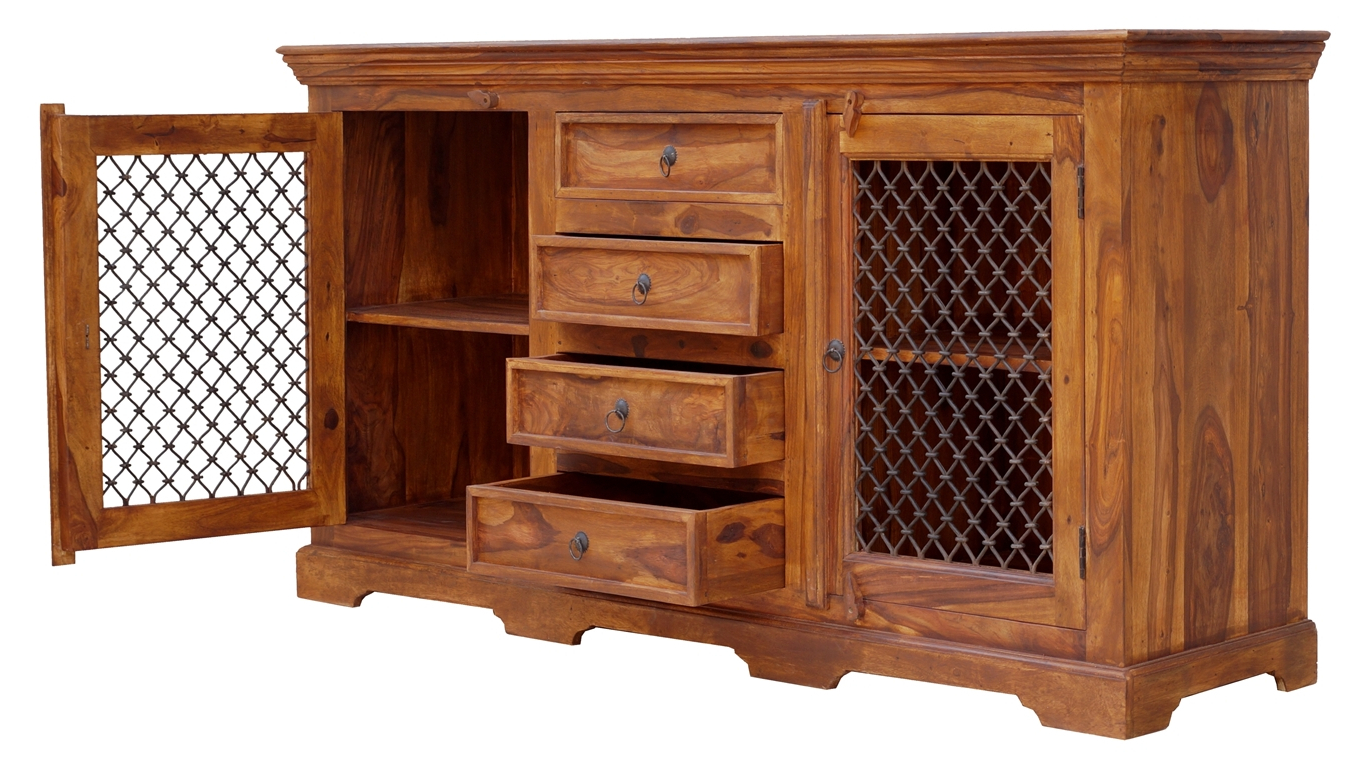Trendy Iron Pine Sideboards With Regard To Thakat Iron Jali Sideboard 2 Door & 4 Drawer – Umaid Craftorium (View 10 of 20)