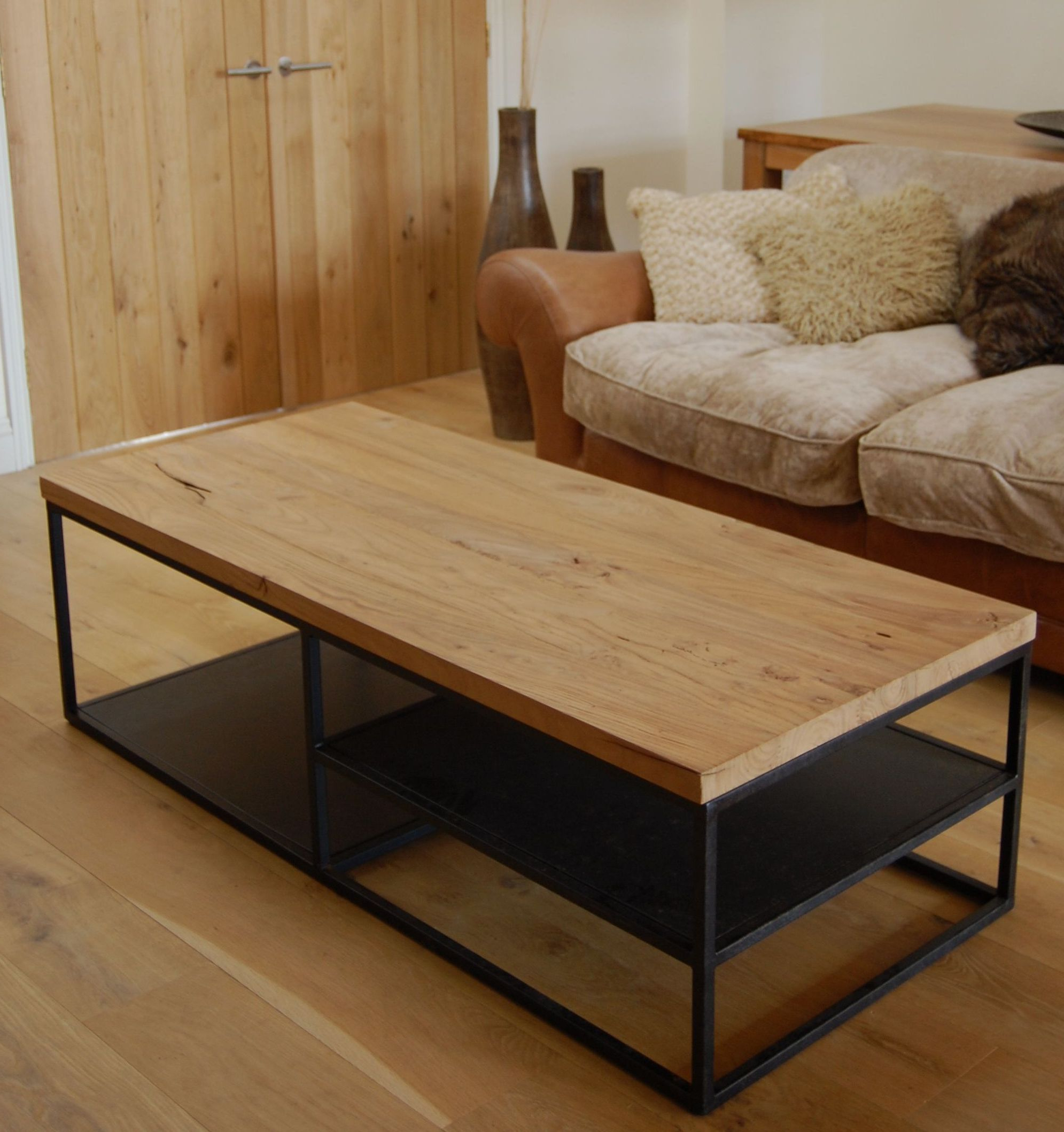 Trendy Iron Wood Coffee Tables With Wheels Inside Reclaimed Wood And Iron Coffee Table (View 6 of 20)