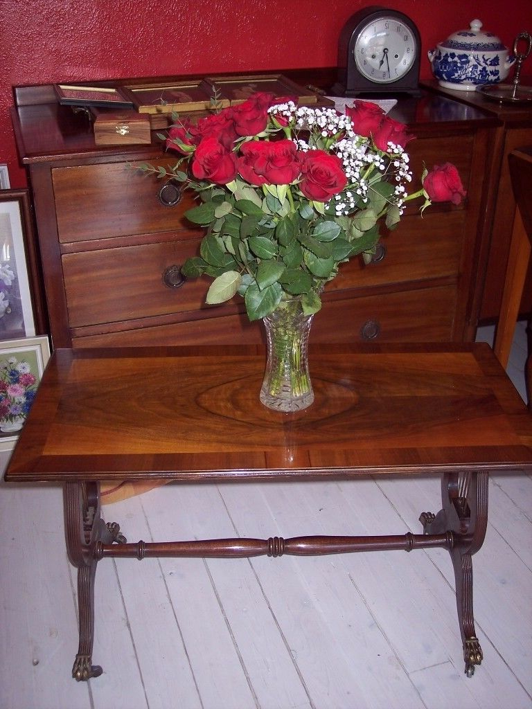 Trendy Lyre Coffee Tables With Regard To Old Coffee Table, Vintage Retro Mahogany Lyre Pedestal / Base Table (View 19 of 20)