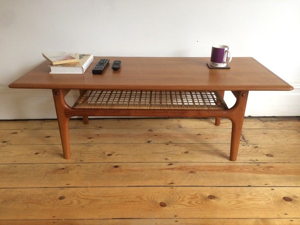 Trendy Mid Century Danish Trioh Large Teak Coffee Table With Rattan Shelf Within Large Teak Coffee Tables (View 17 of 20)
