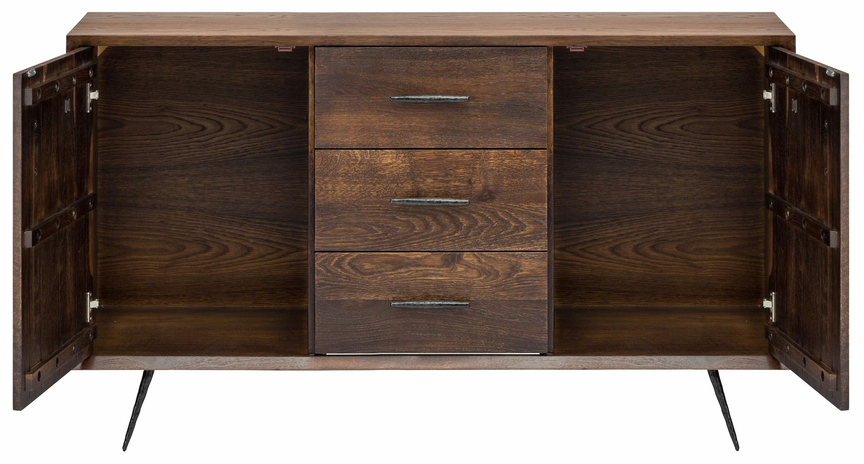 Trendy Nexa Sideboard Cabinet In Seared Oak And Black Cast Iron Legs With Regard To Black Oak Wood And Wrought Iron Sideboards (Gallery 4 of 20)