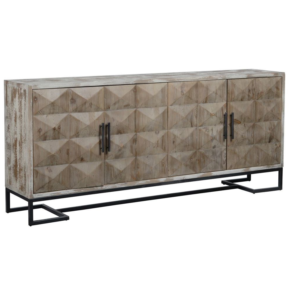 """Trendy Reclaimed Pine & Iron 4 Door Sideboards Pertaining To 84"""" Sideboard Buffet Cabinet Reclaimed Pine Distressed White Finish (View 6 of 20)"""