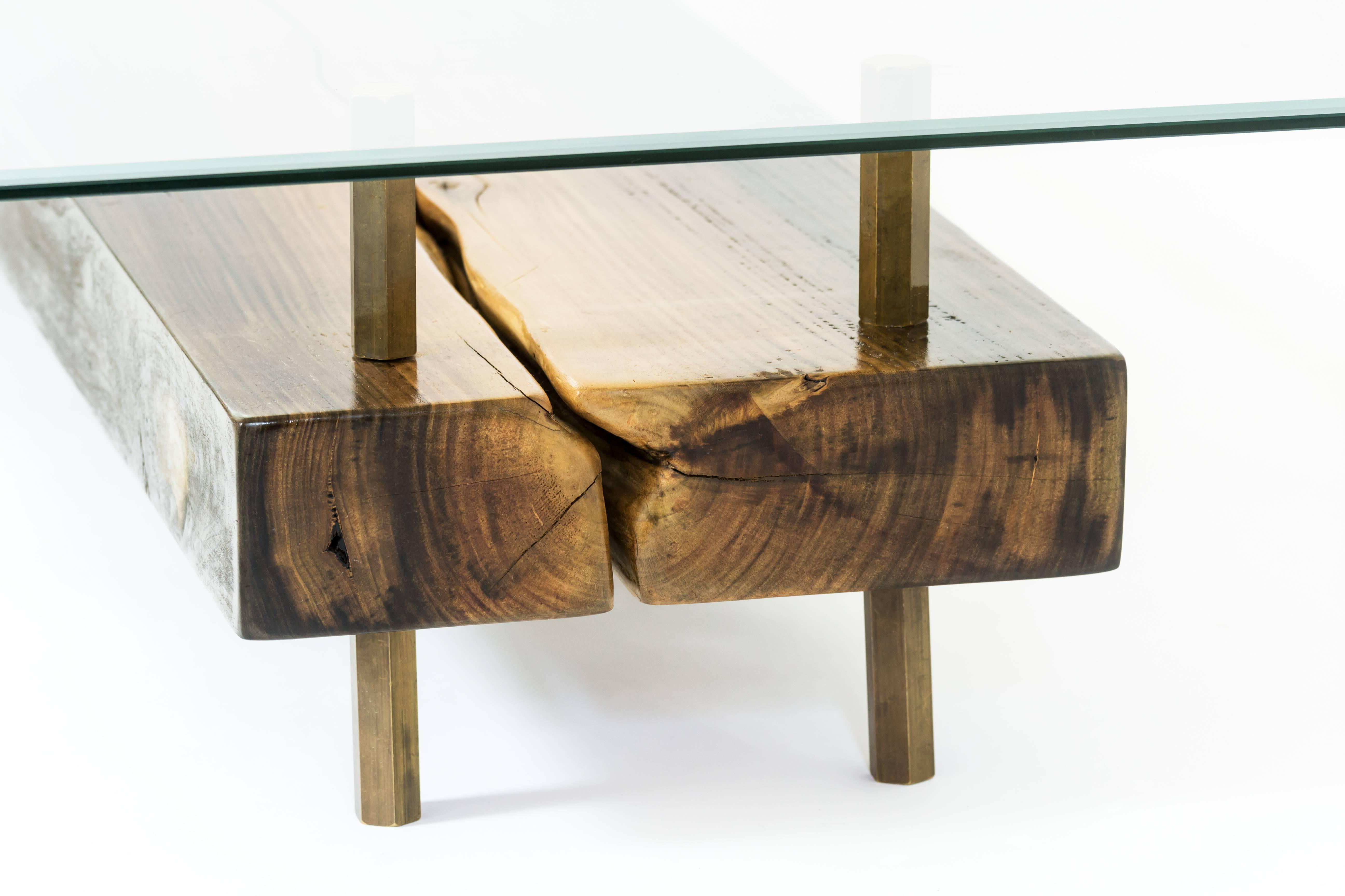 Trendy Rectangular Connection Of Mahoe Wood, Brass Legs And Glass Cocktail Regarding Rectangular Coffee Tables With Brass Legs (View 5 of 20)