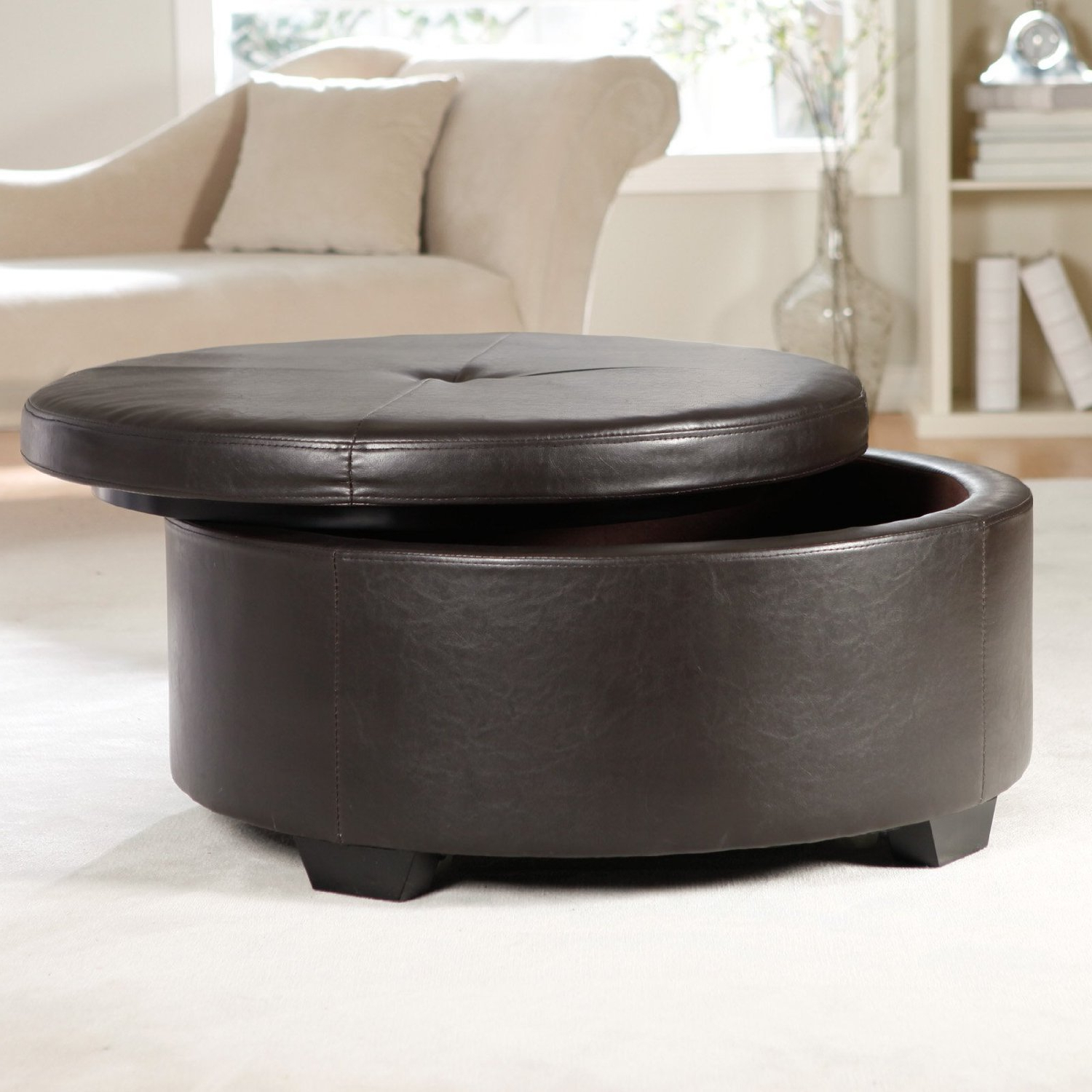 Trendy Round Button Tufted Coffee Tables Inside Coffee Table. Hd Wallpaper Leather Coffee Table: Simple Round (Gallery 15 of 20)