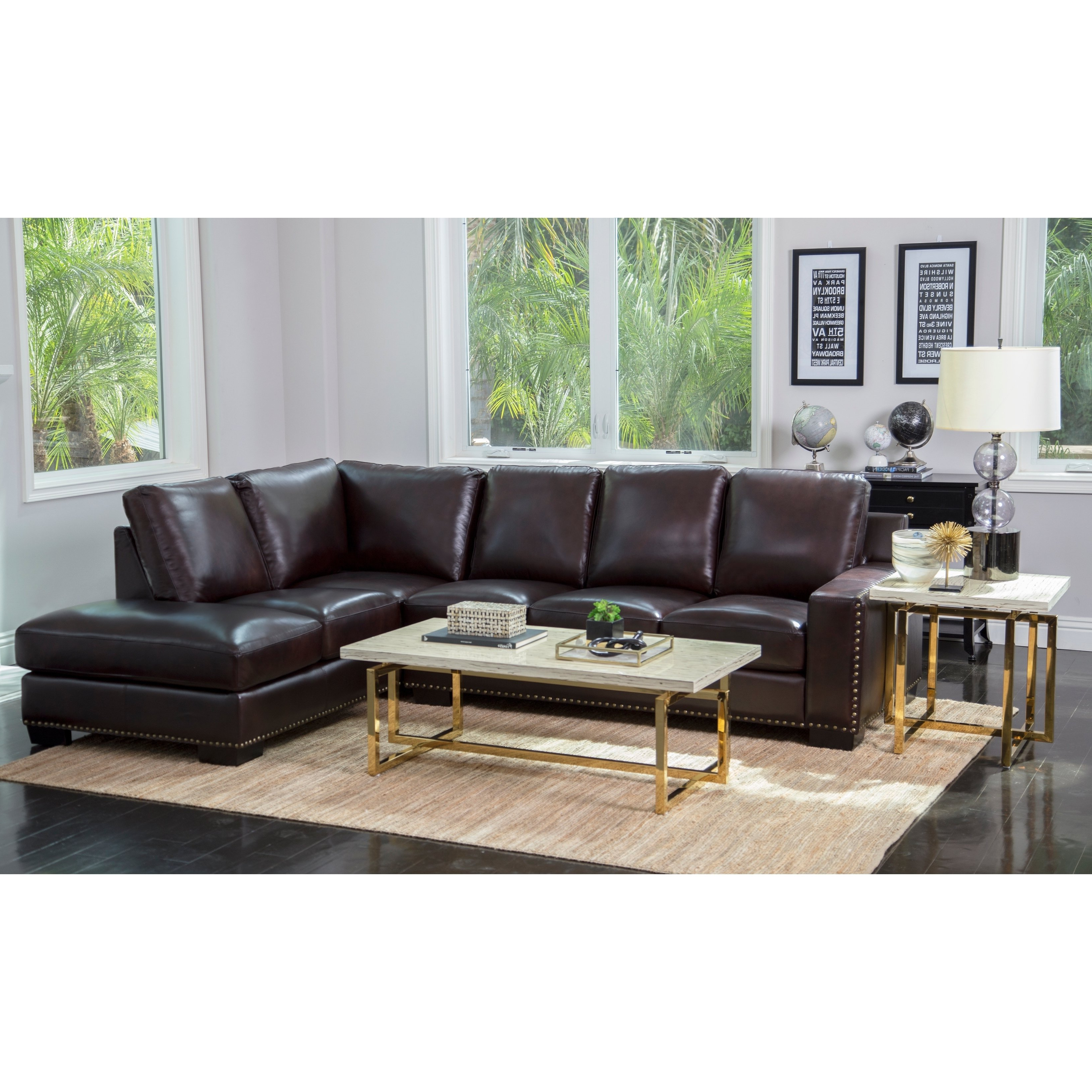 Trendy Shop Abbyson Monaco Brown Top Grain Leather Sectional Sofa – On Sale With Regard To Adeline 3 Piece Sectionals (View 19 of 20)