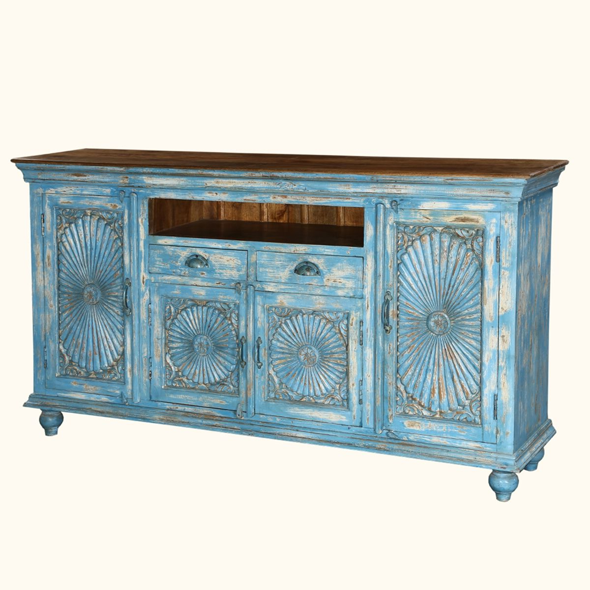 Trendy Starburst 3 Door Sideboards Intended For Sky Blue Starburst Handcrafted Mango Wood 2 Drawer Buffet Cabinet (View 11 of 20)
