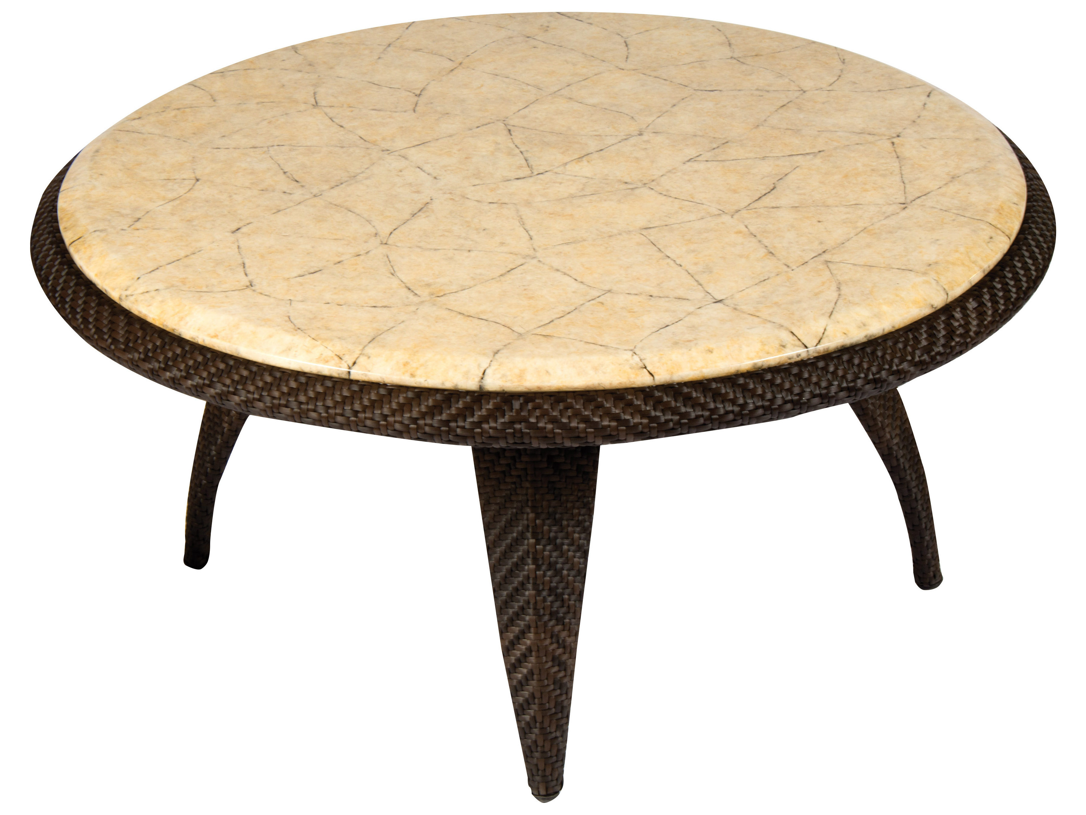 Trendy Stone Top Coffee Tables Regarding Whitecraft Bali Wicker 40 Round Stone Top Coffee Table (View 15 of 20)