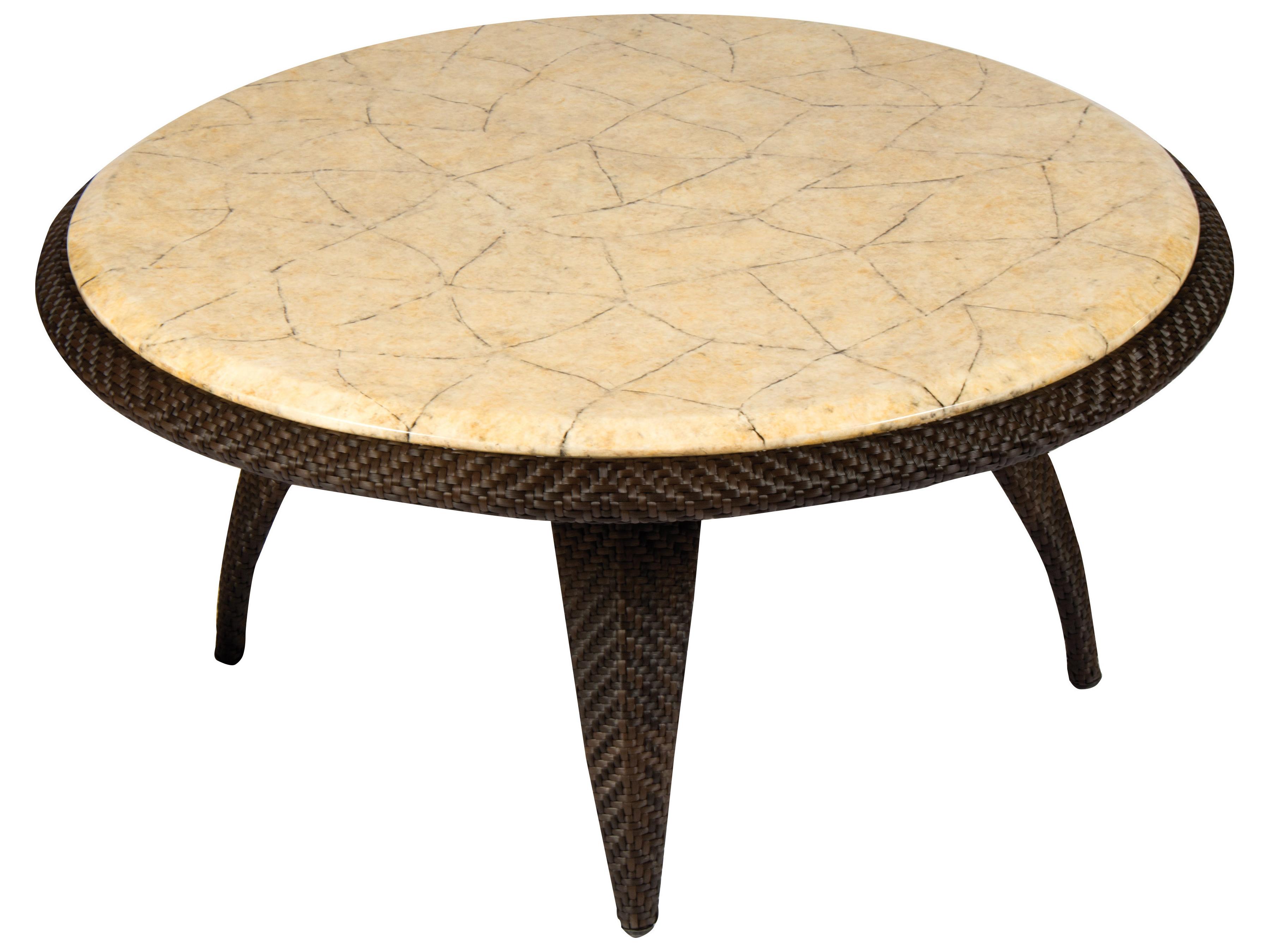 Trendy Stone Top Coffee Tables Regarding Whitecraft Bali Wicker 40 Round Stone Top Coffee Table (View 19 of 20)