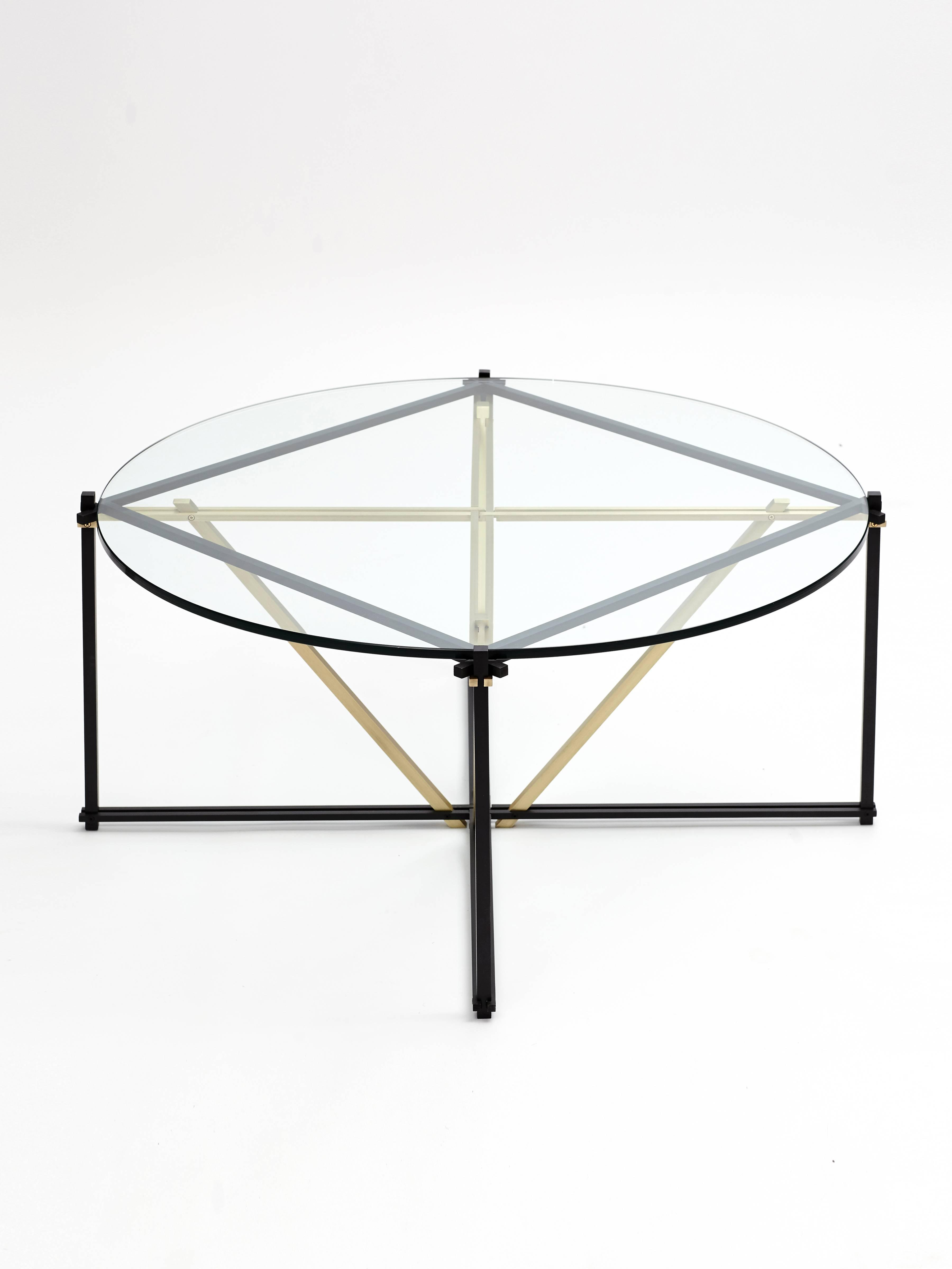 Trendy Tensegrity Coffee Table, Black And Satin Brass With Clear Glass For With Regard To Intertwine Triangle Marble Coffee Tables (View 19 of 20)