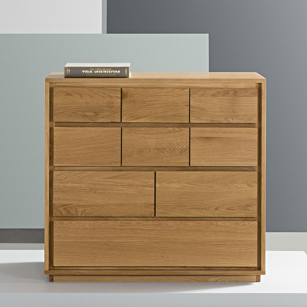 Trendy Tobias 4 Door Sideboards With Regard To Tobias 9 Drawer Chest – Solid Oak – 100X45X95Cm (View 18 of 20)