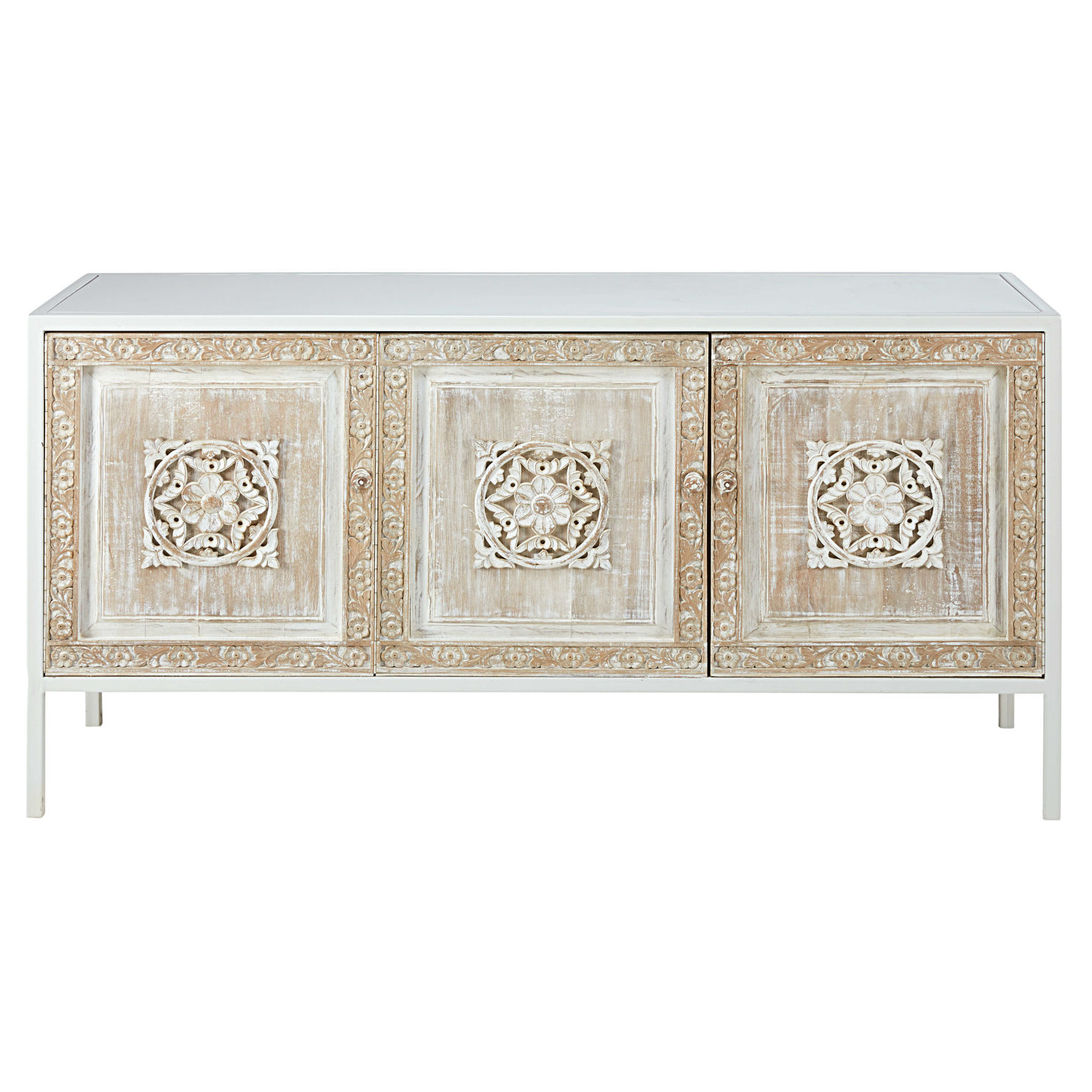 Trendy White Metal And Sculpted Mango Wood 3 Door Sideboard Mambok For Carved 4 Door Metal Frame Sideboards (View 6 of 20)