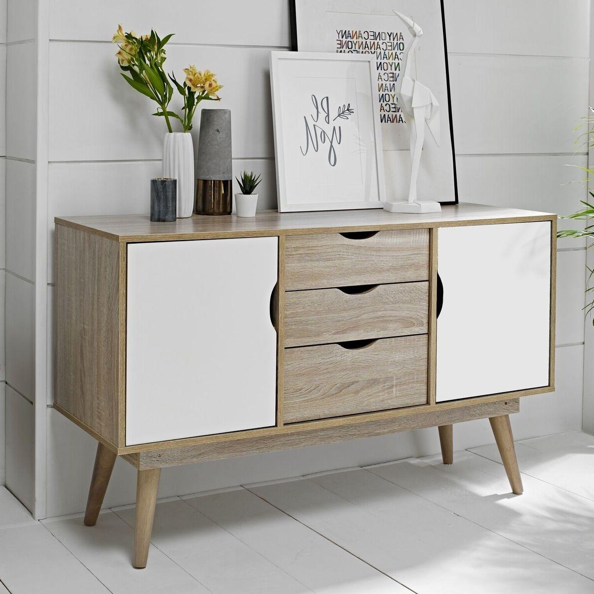 Trendy White Wash 3 Door 3 Drawer Sideboards Regarding Lpd Scandi 2 Door 3 Drawer Oak Sideboard – White Or Grey (View 13 of 20)