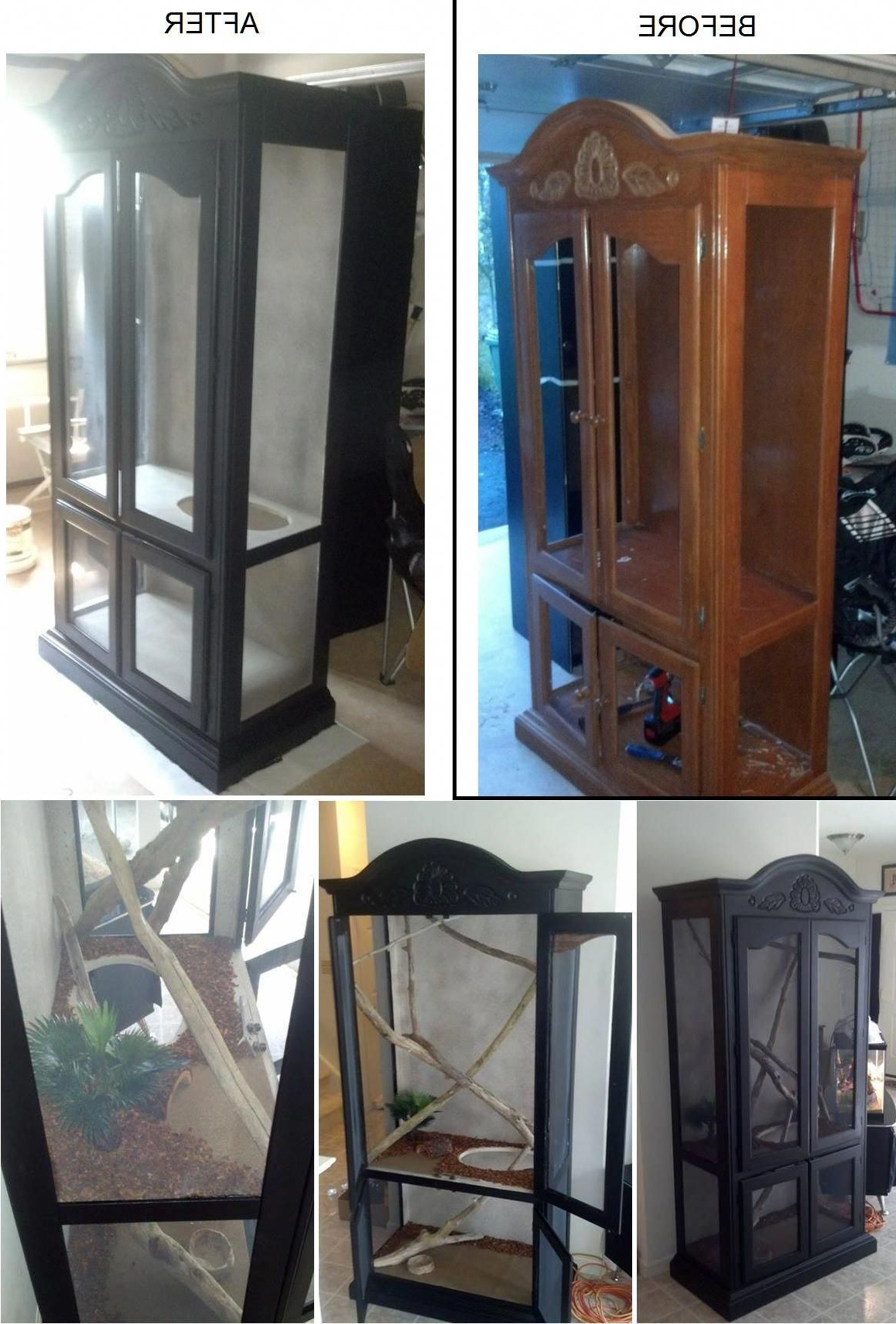 Turning An Old Curio Cabinet Into A Custom Reptile Enclosure To Look Pertaining To Well Liked Rhya 4 Door Sideboards (View 20 of 20)