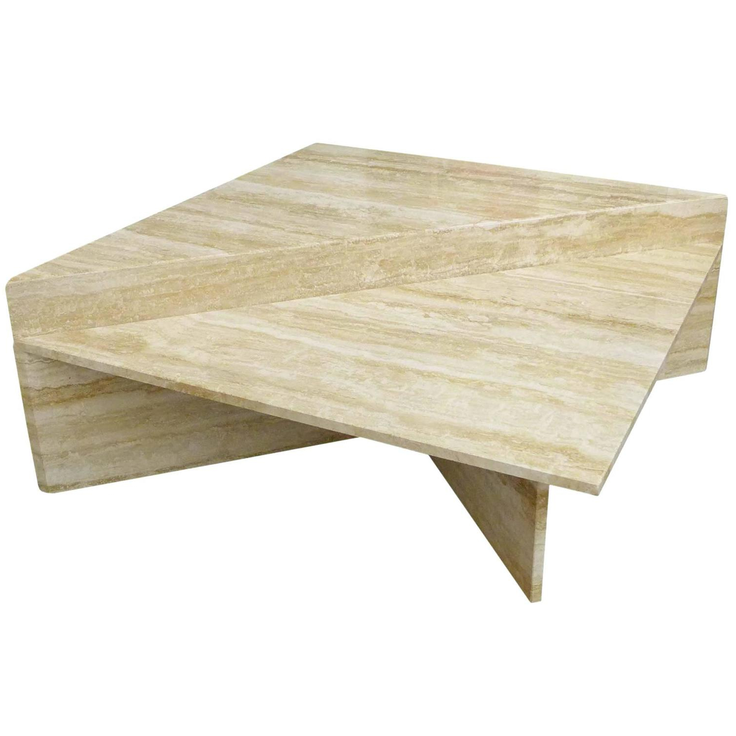 Two Piece Modular Travertine Coffee Table At 1stdibs Pertaining To Most Current Modular Coffee Tables (View 6 of 20)