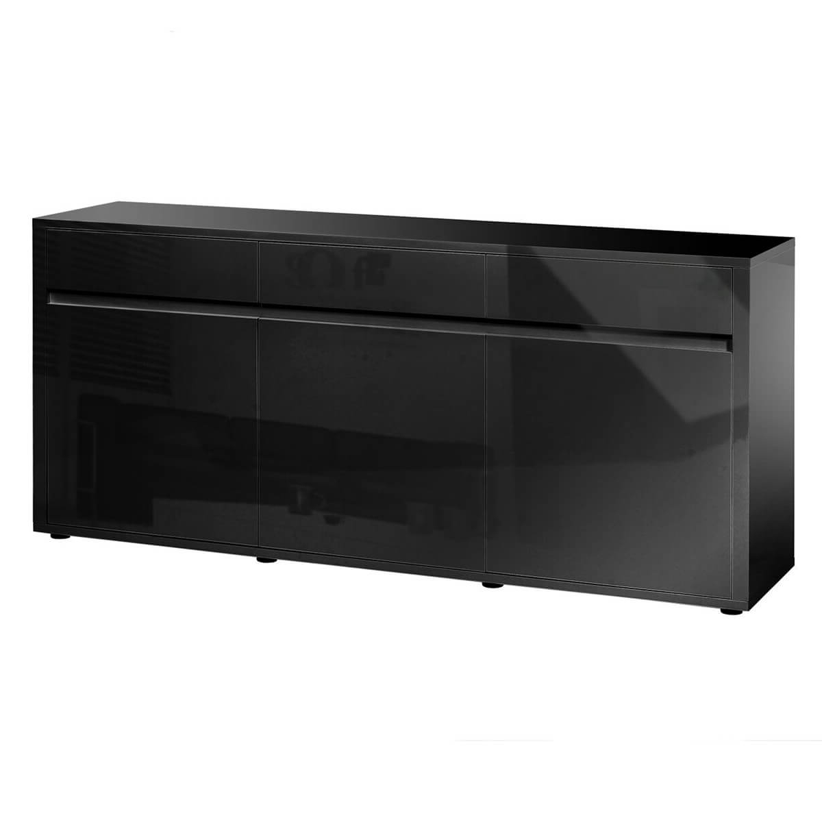 Urbana Black High Gloss Sideboard 3 Door 3 Drawer (View 16 of 20)