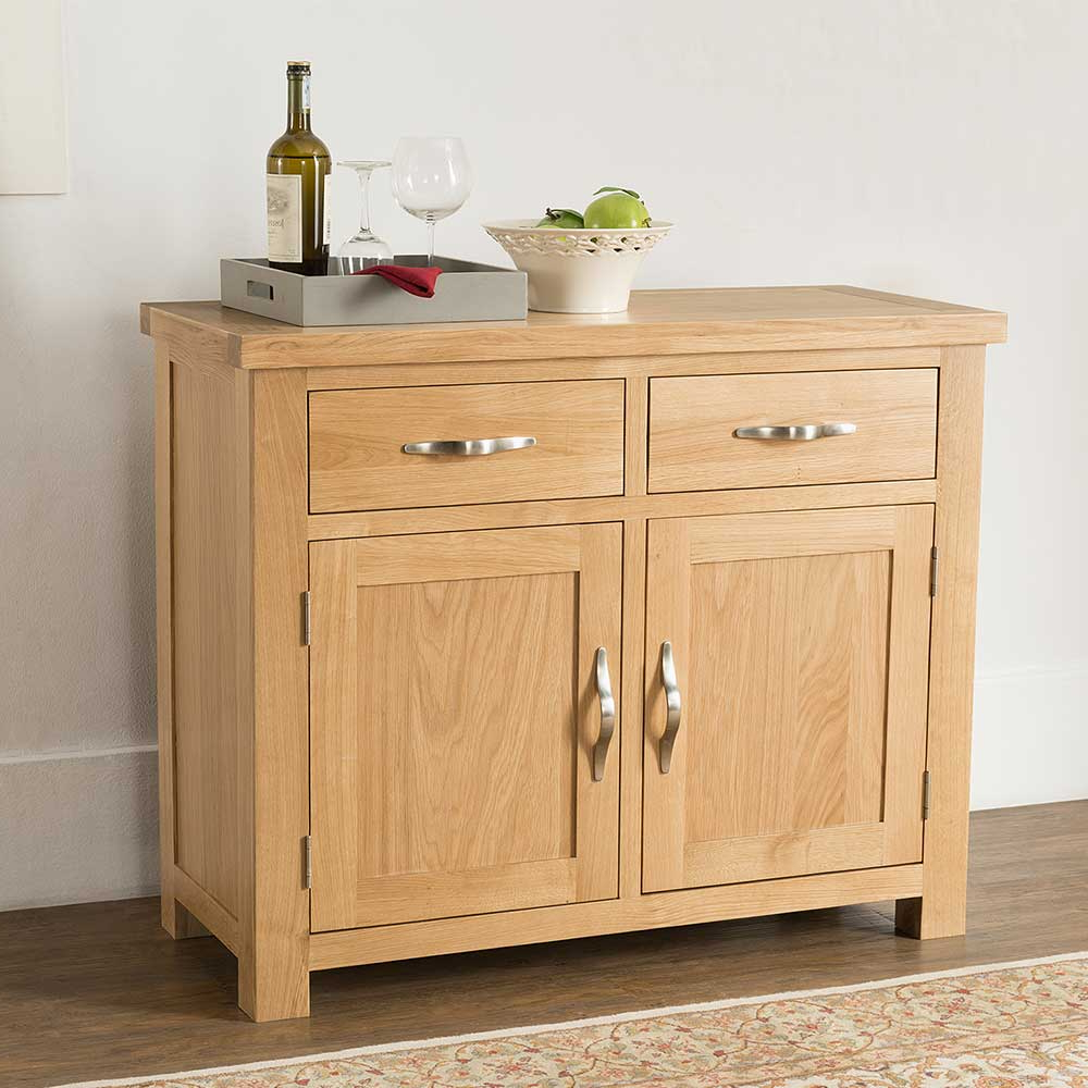 Valencia Light Oak 2 Door 2 Drawer Sideboard Cabinet Lacquered Within Fashionable 2 Drawer Sideboards (View 17 of 20)