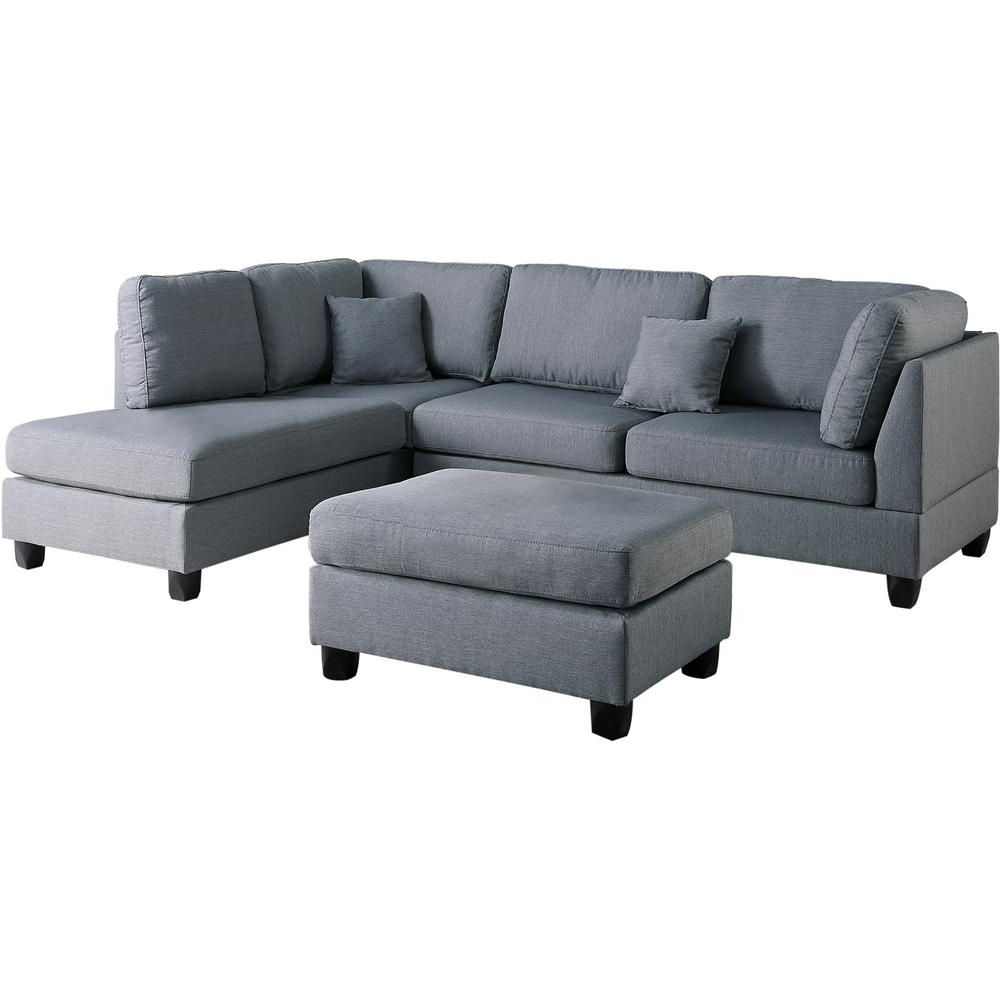 Venetian Worldwide Madrid 3 Piece Reversible Sectional Sofa In Gray Within Latest Marissa Ii 3 Piece Sectionals (Gallery 6 of 20)